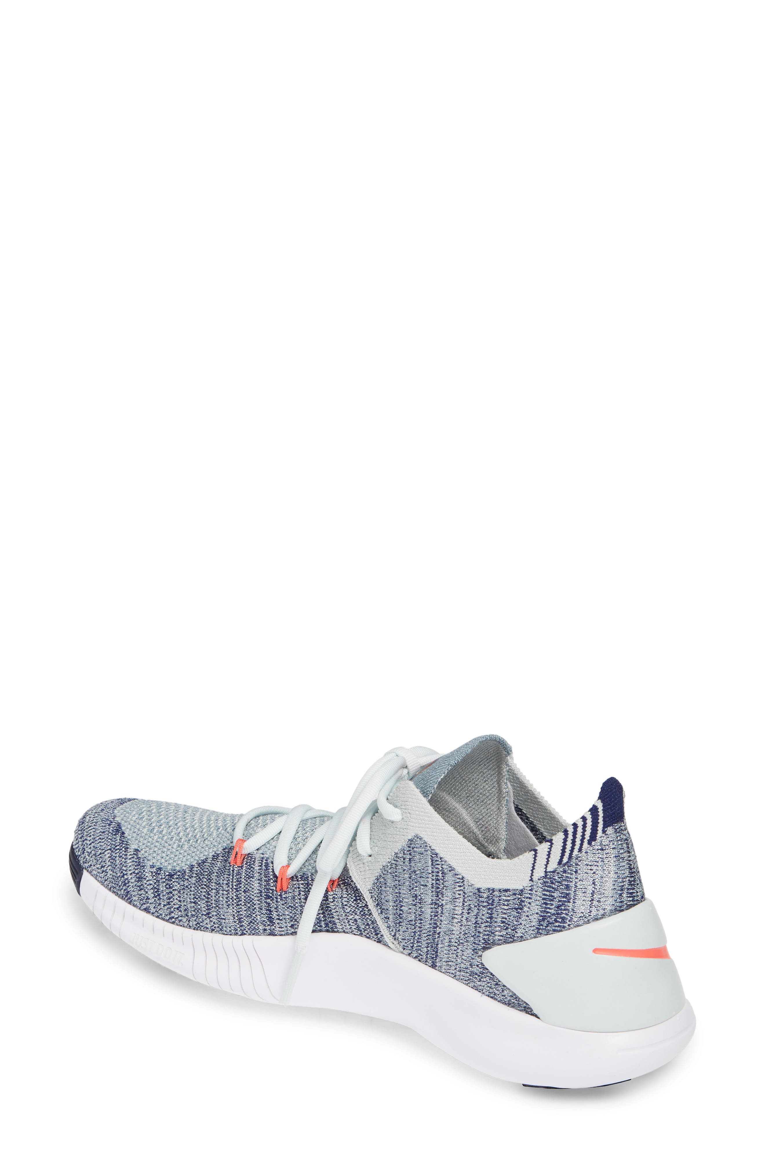Free TR Flyknit 3 Training Shoe,                             Alternate thumbnail 2, color,                             BARELY GREY/ EMBER GLOW/ BLUE