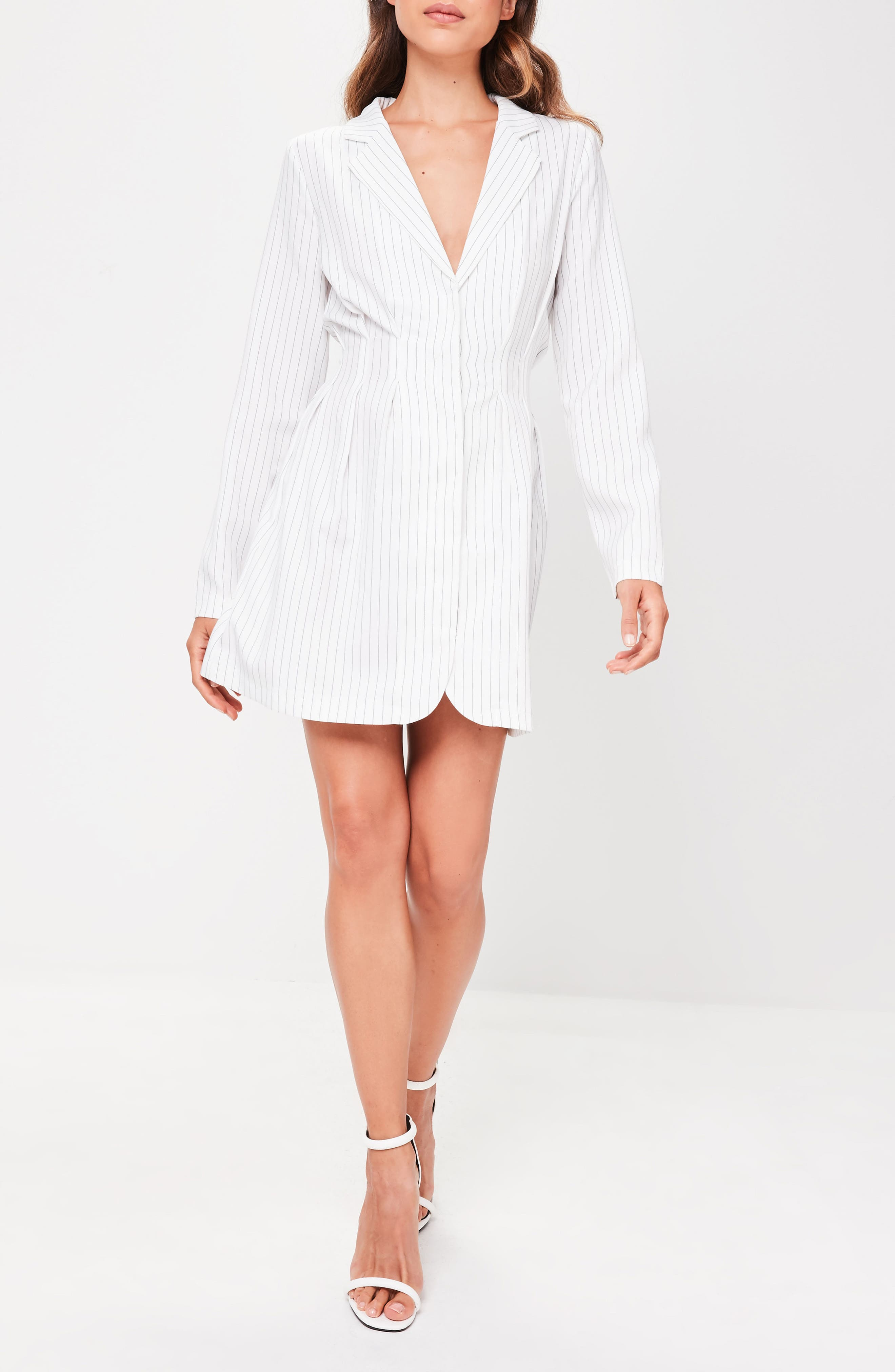 Pinstripe Blazer Dress,                             Alternate thumbnail 4, color,                             100