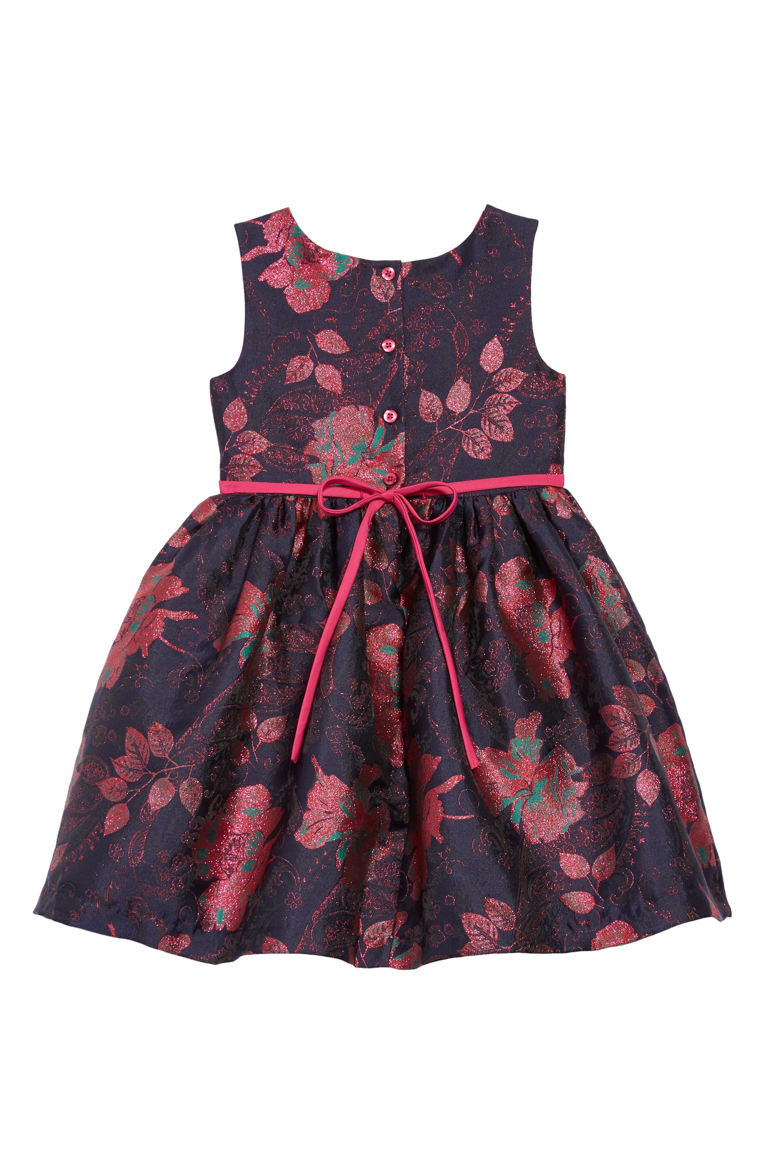 Floral Brocade Fit & Flare Dress,                             Alternate thumbnail 2, color,                             410