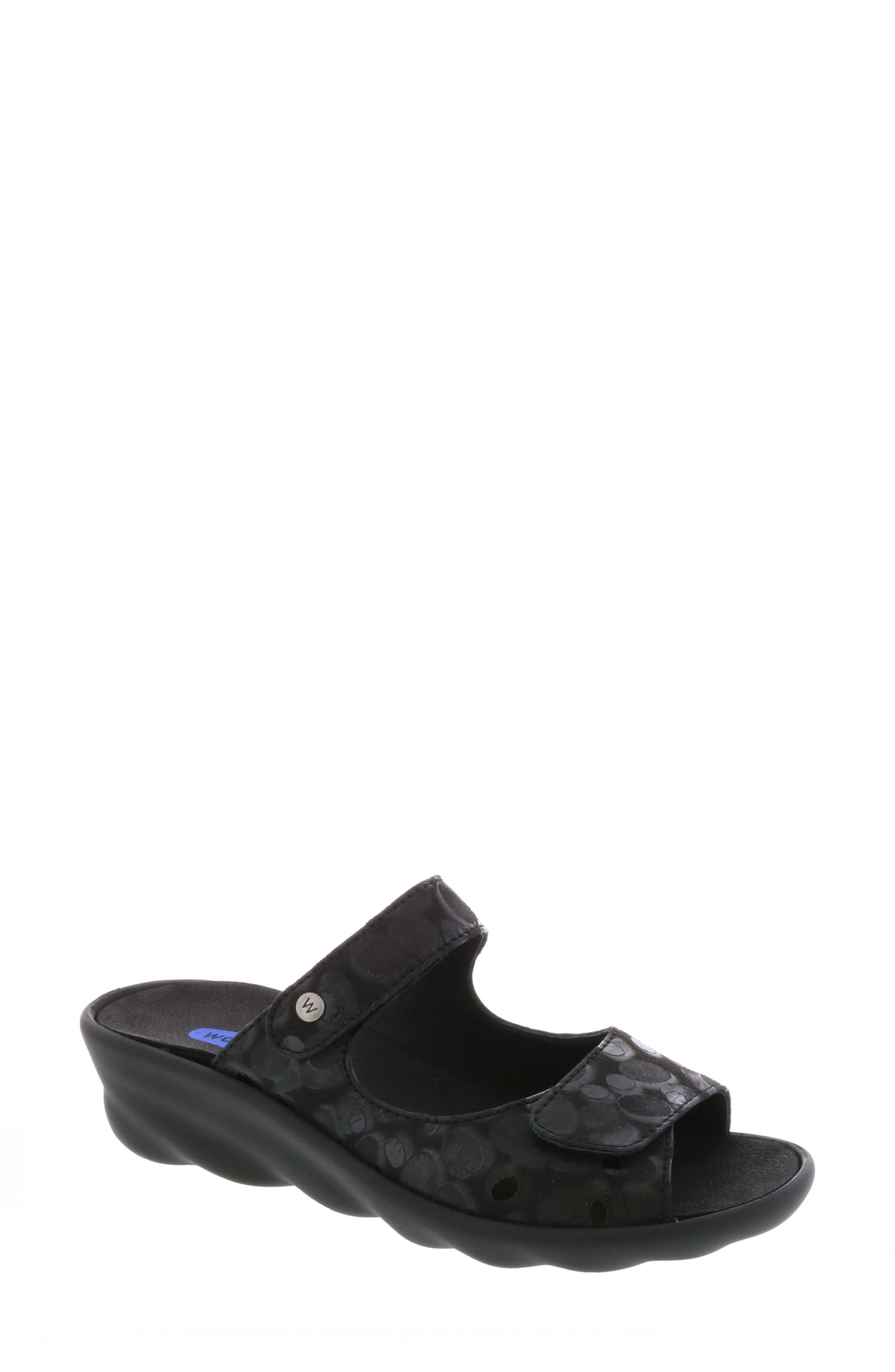 Bolena Slide Sandal,                             Main thumbnail 1, color,                             BLACK CIRCLE PRINT