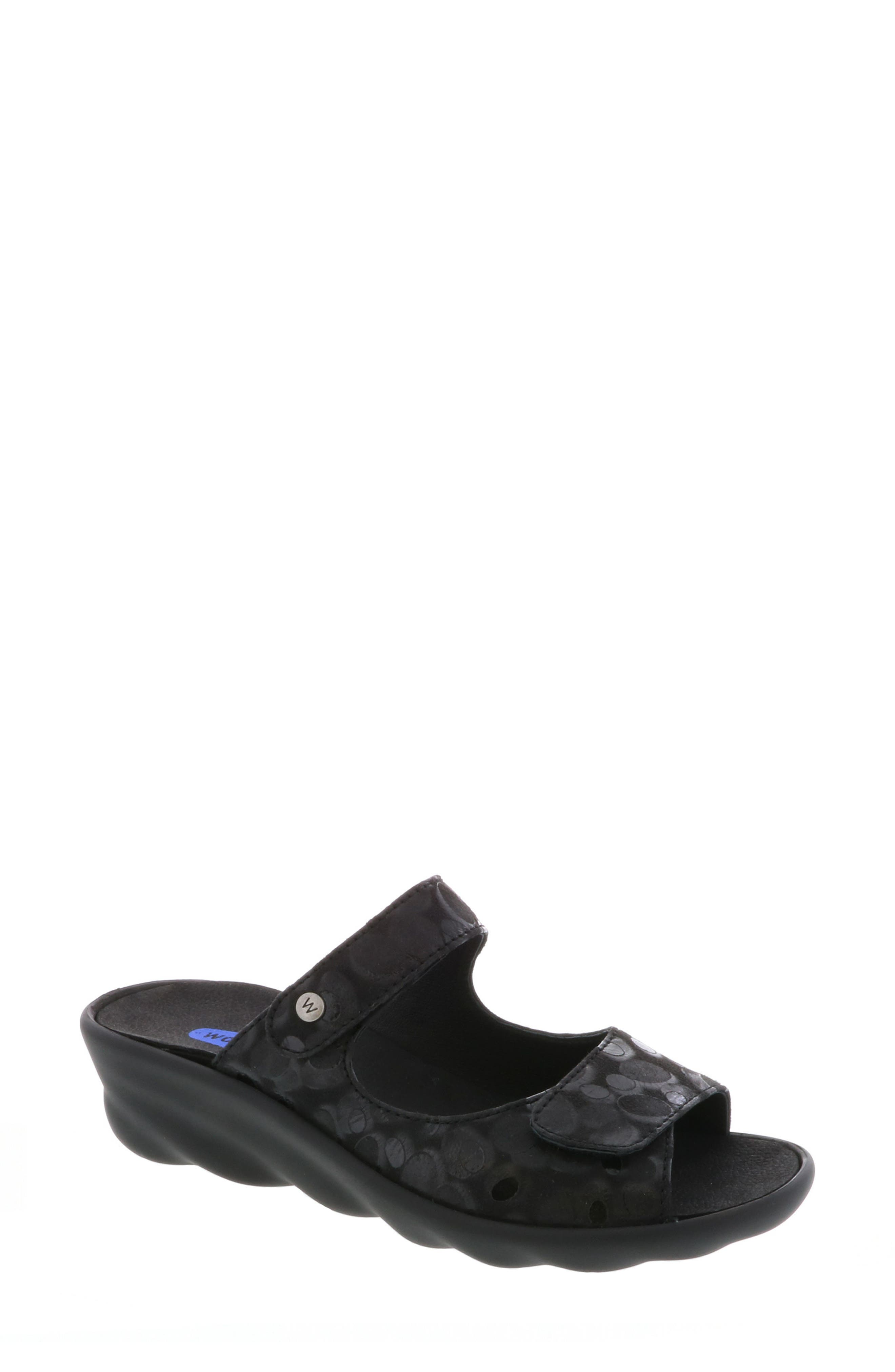 Bolena Slide Sandal,                         Main,                         color, BLACK CIRCLE PRINT