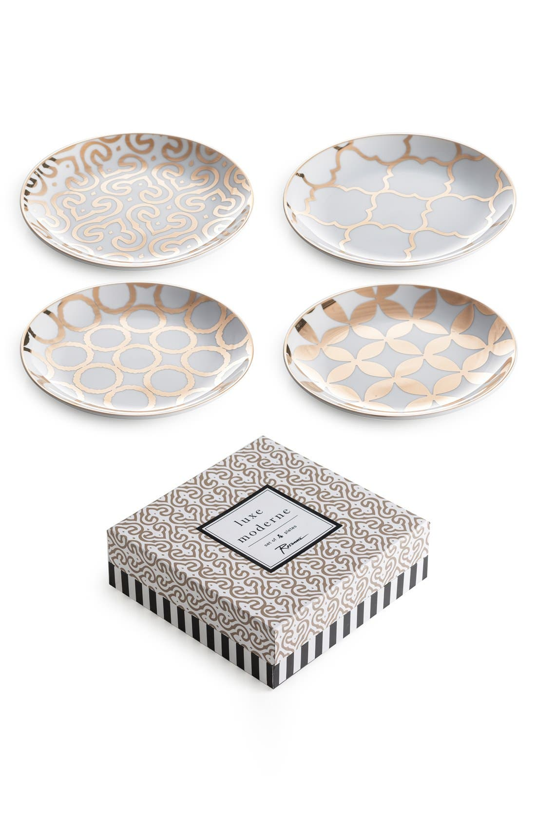 'Luxe Moderne' Appetizer Plates,                             Main thumbnail 1, color,                             WHITE