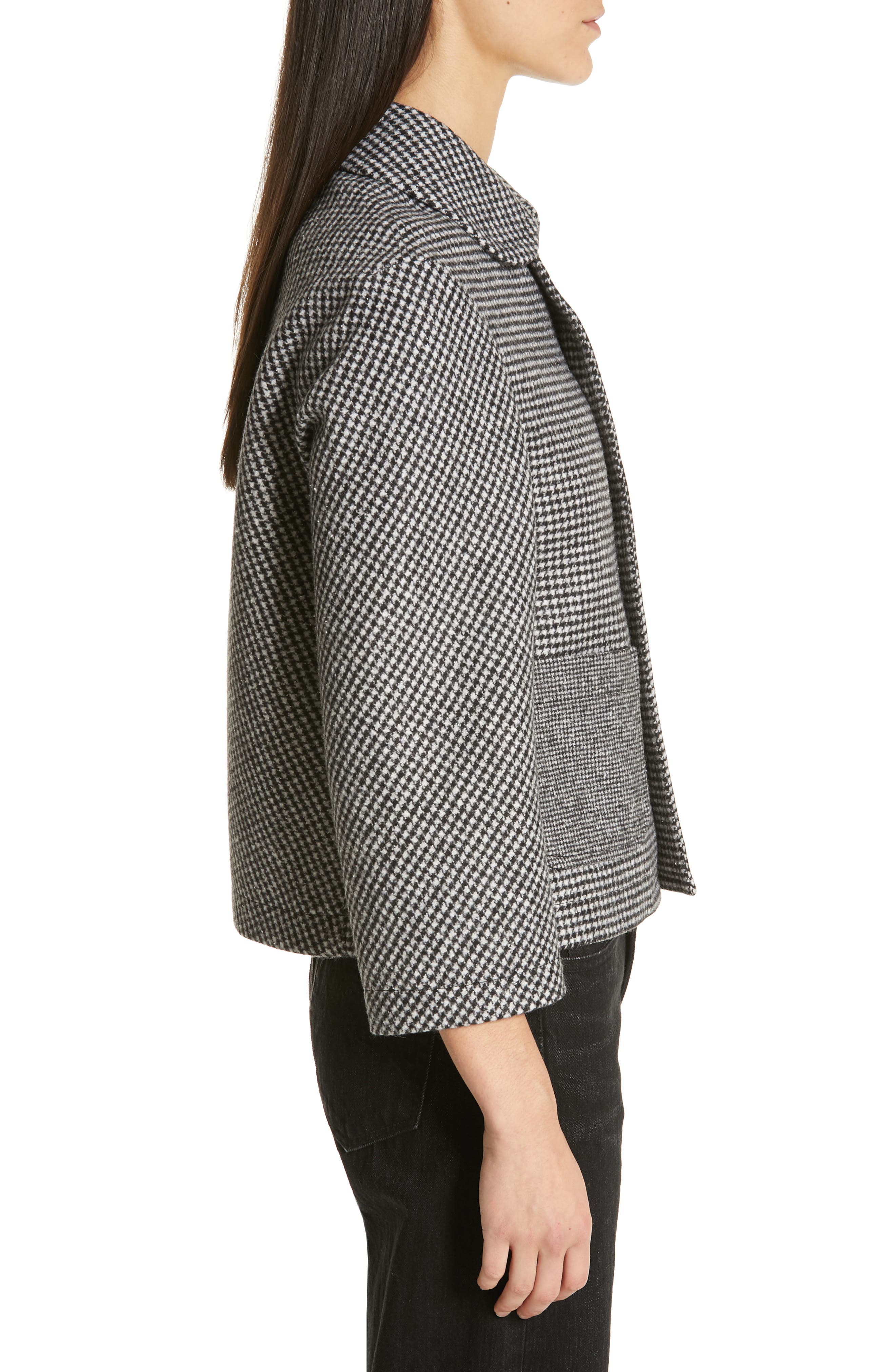 Houndstooth Crop Jacket,                             Alternate thumbnail 3, color,                             LARGE X SMALL