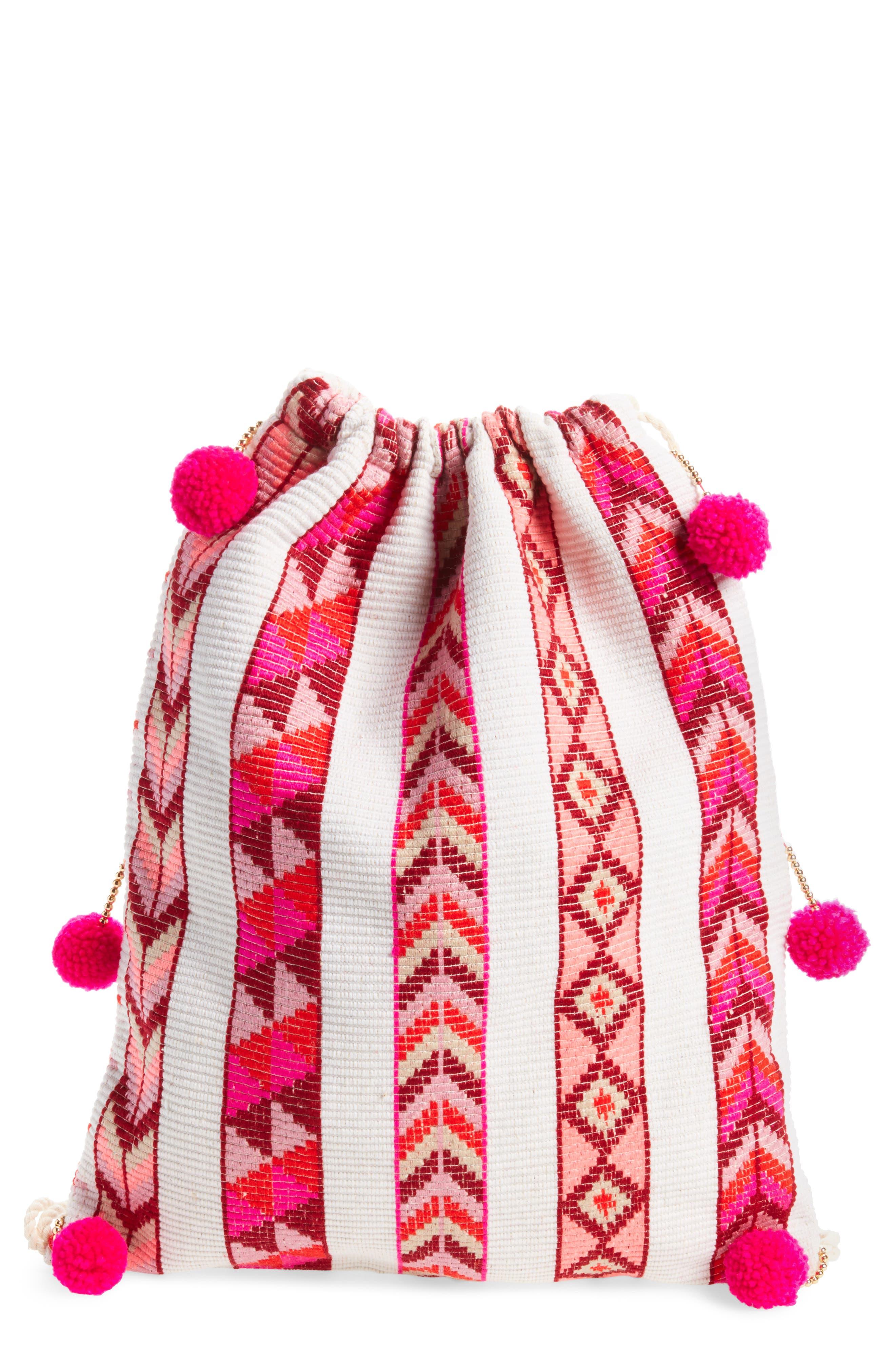 Pompom Drawstring Bag,                             Main thumbnail 3, color,