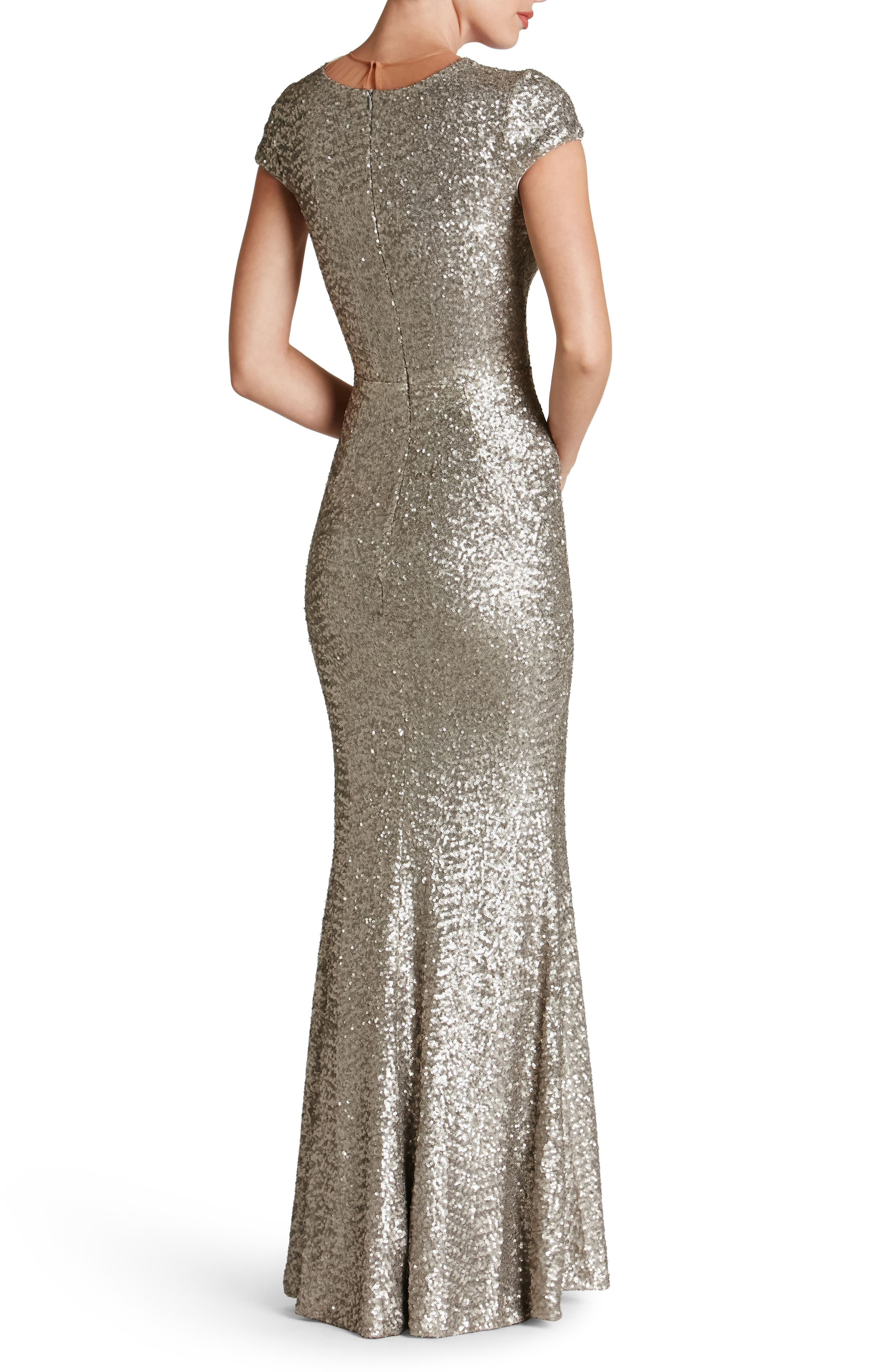 Michelle Sequin Gown,                             Alternate thumbnail 2, color,                             PLATINUM