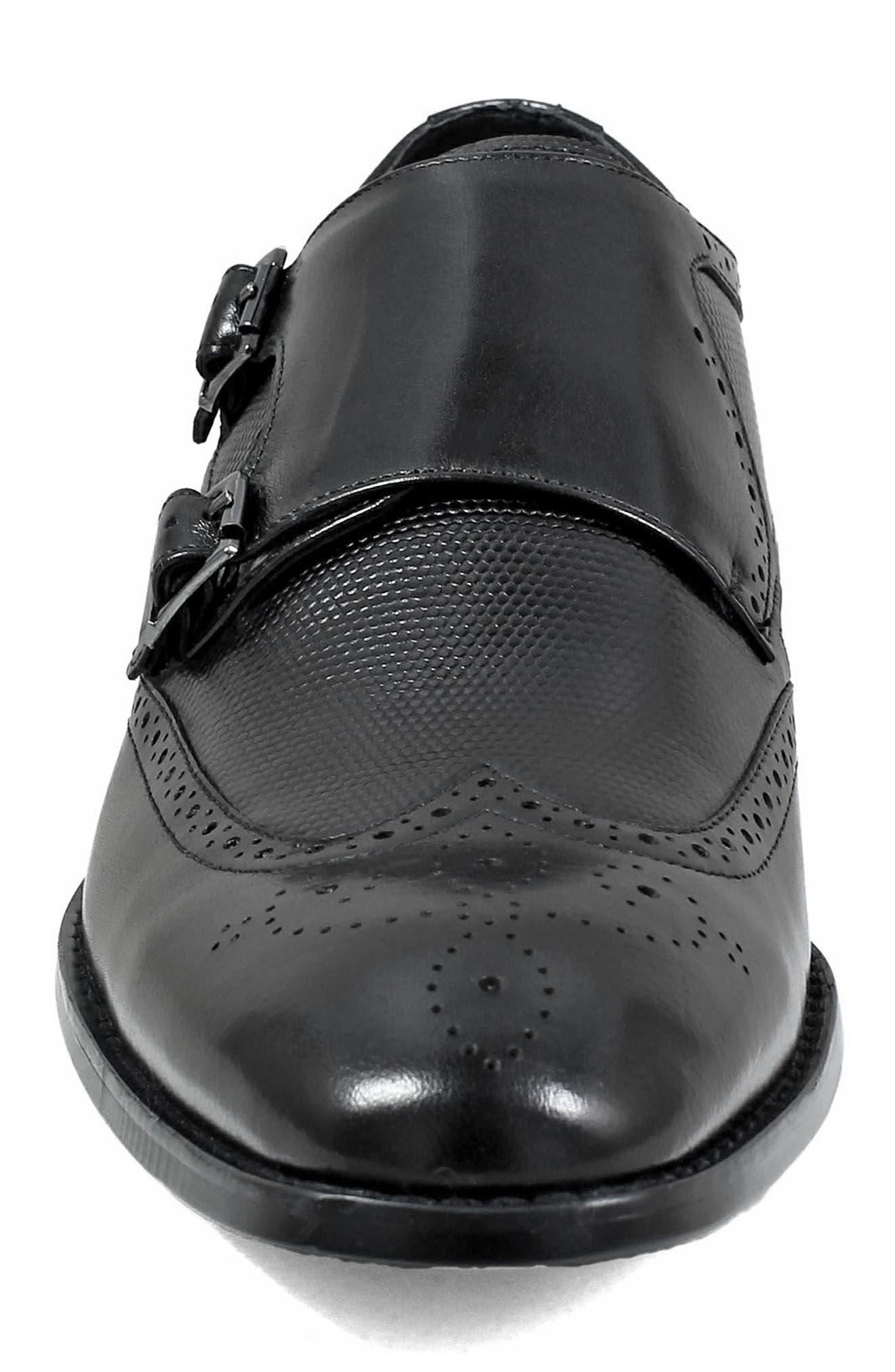 Lavine Wingtip Monk Shoe,                             Alternate thumbnail 4, color,                             BLACK LEATHER