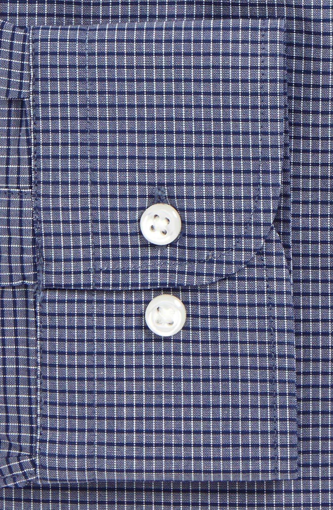 Tech-Smart Trim Fit Stretch Check Dress Shirt,                             Alternate thumbnail 6, color,                             410