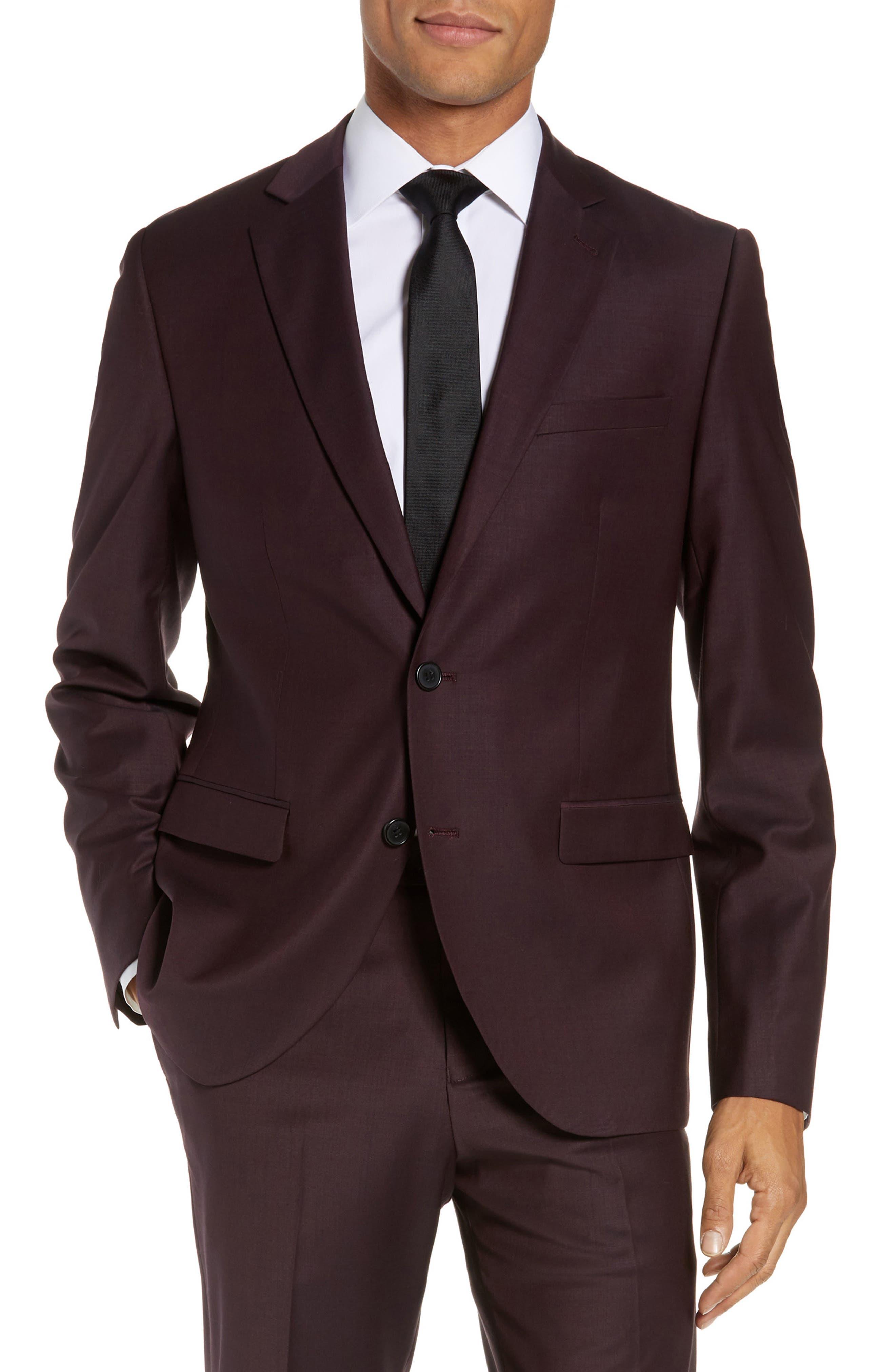 Extra Trim Fit Suit Jacket,                         Main,                         color, BURGUNDY