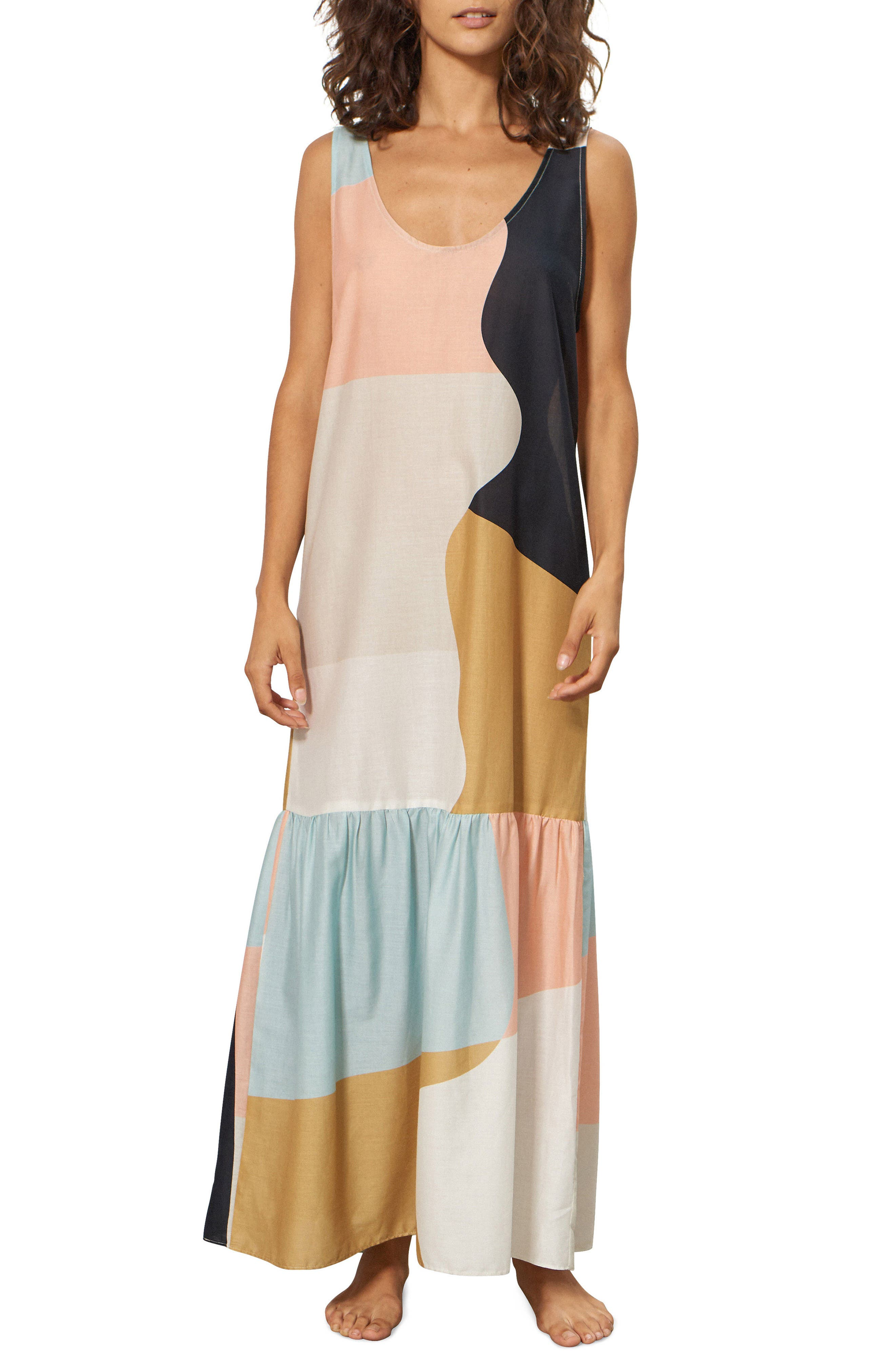 Valentina Cover-Up Dress,                             Main thumbnail 1, color,                             PEACH MULTI