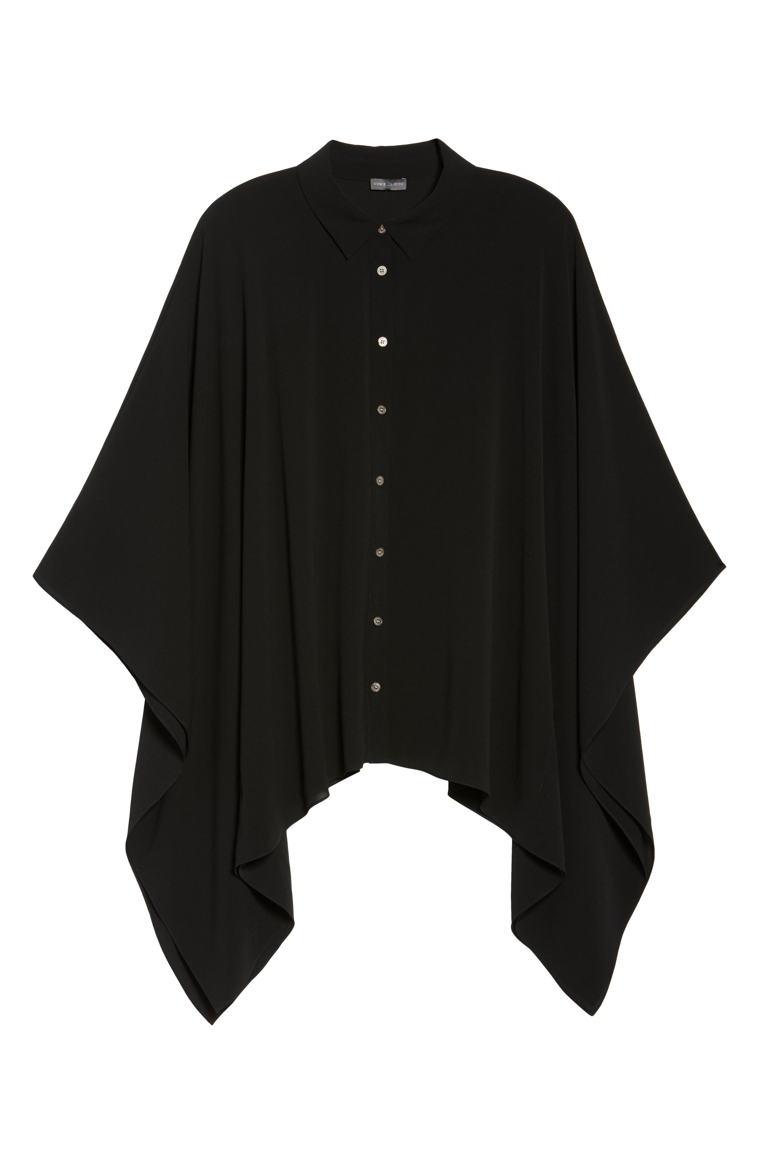 Button Down Collared Poncho Top,                             Alternate thumbnail 6, color,                             006