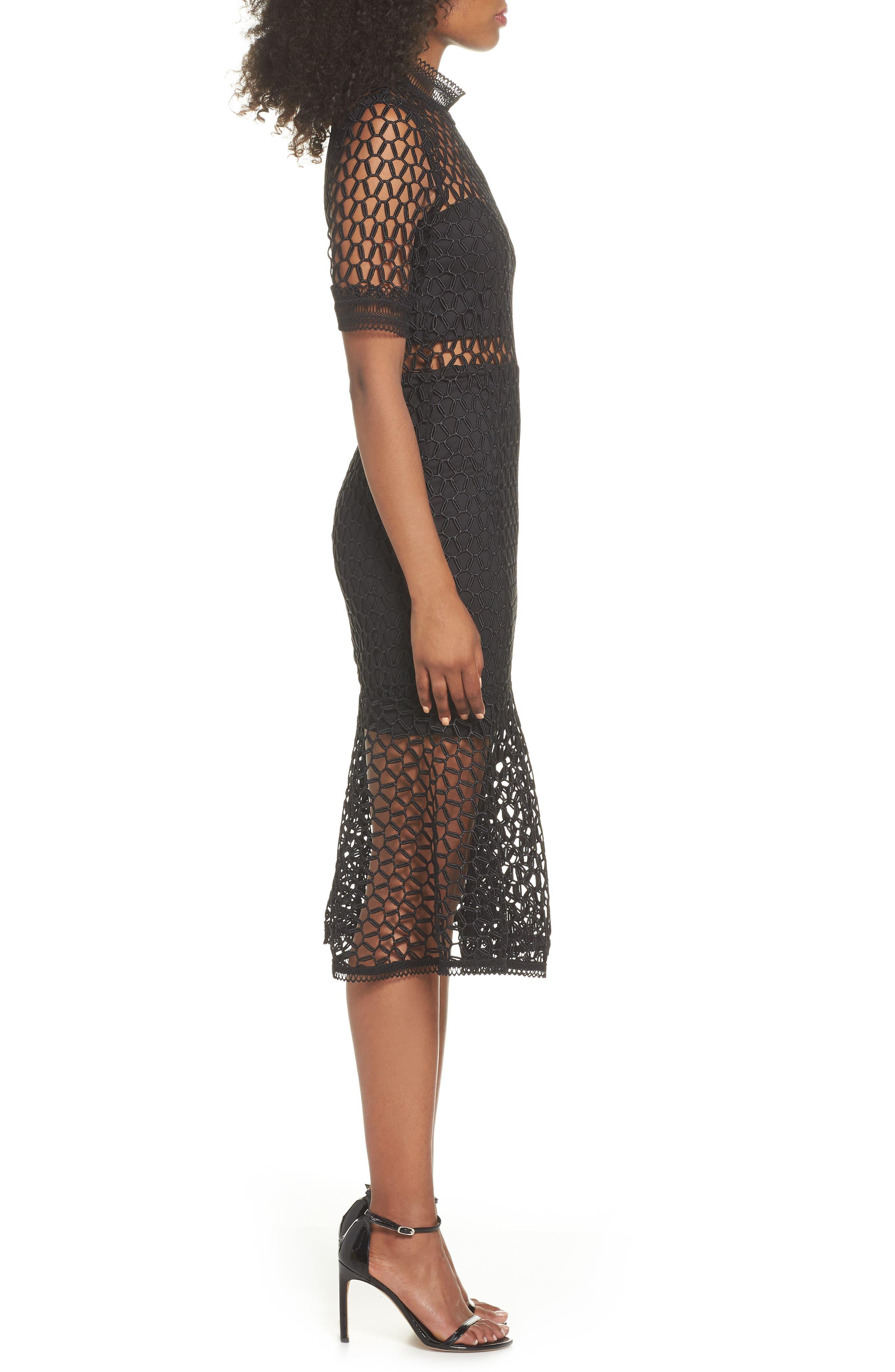 Fiona Mesh Lace Trumpet Dress,                             Alternate thumbnail 3, color,                             BLACK