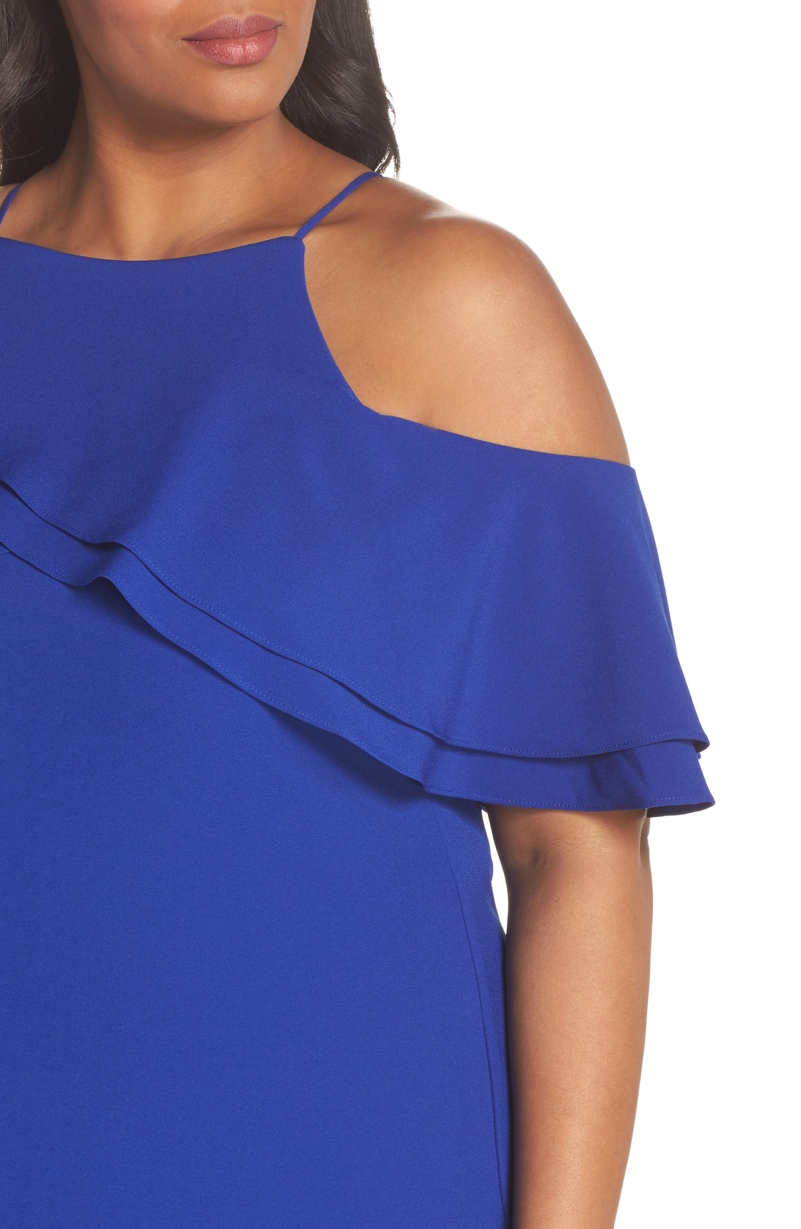 Ruffle Cold Shoulder Gown,                             Alternate thumbnail 4, color,                             400
