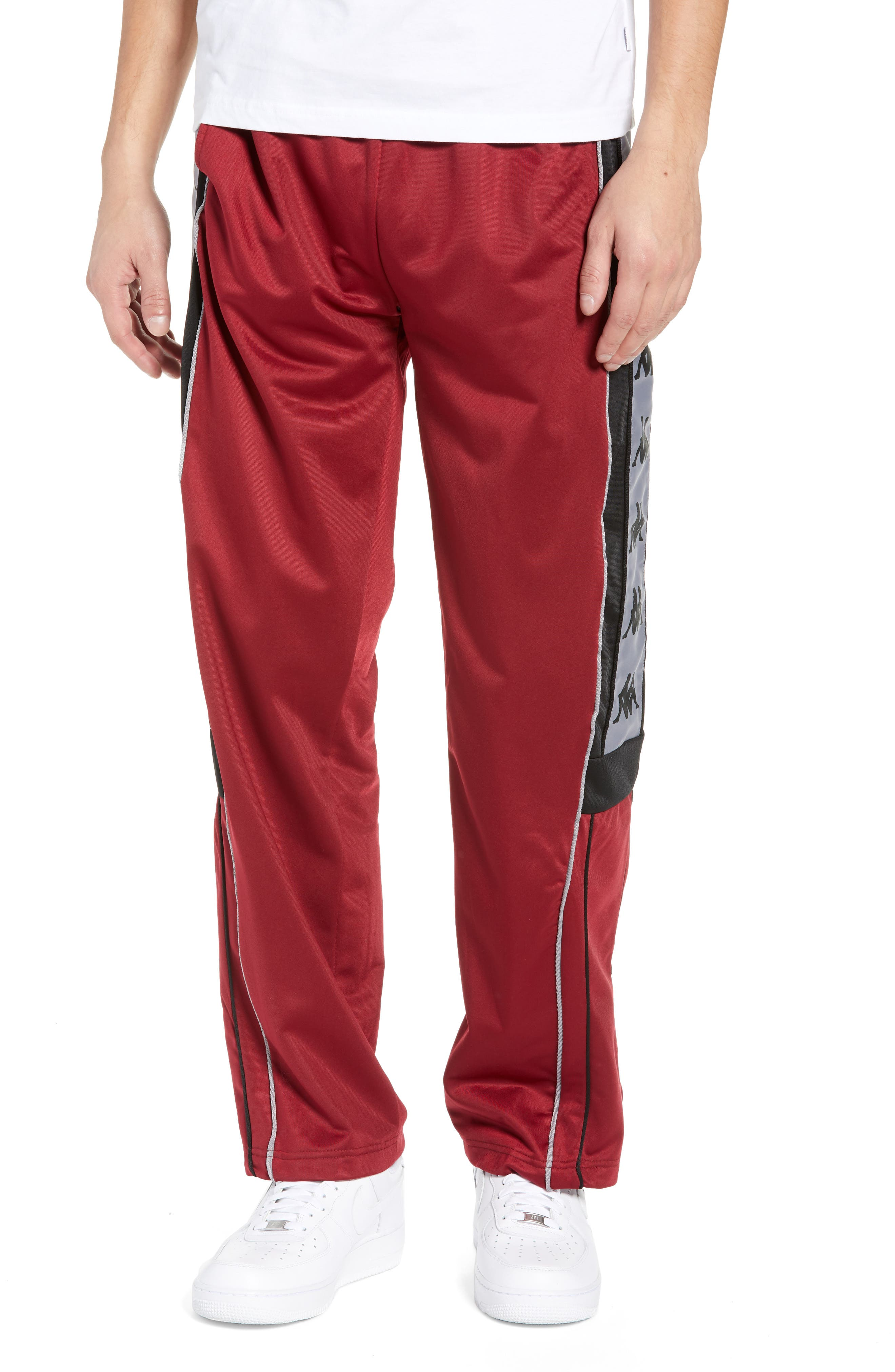 Active 222 Banda Snap-Away Warm-Up Pants,                         Main,                         color, RED BORDEAUX BLACK