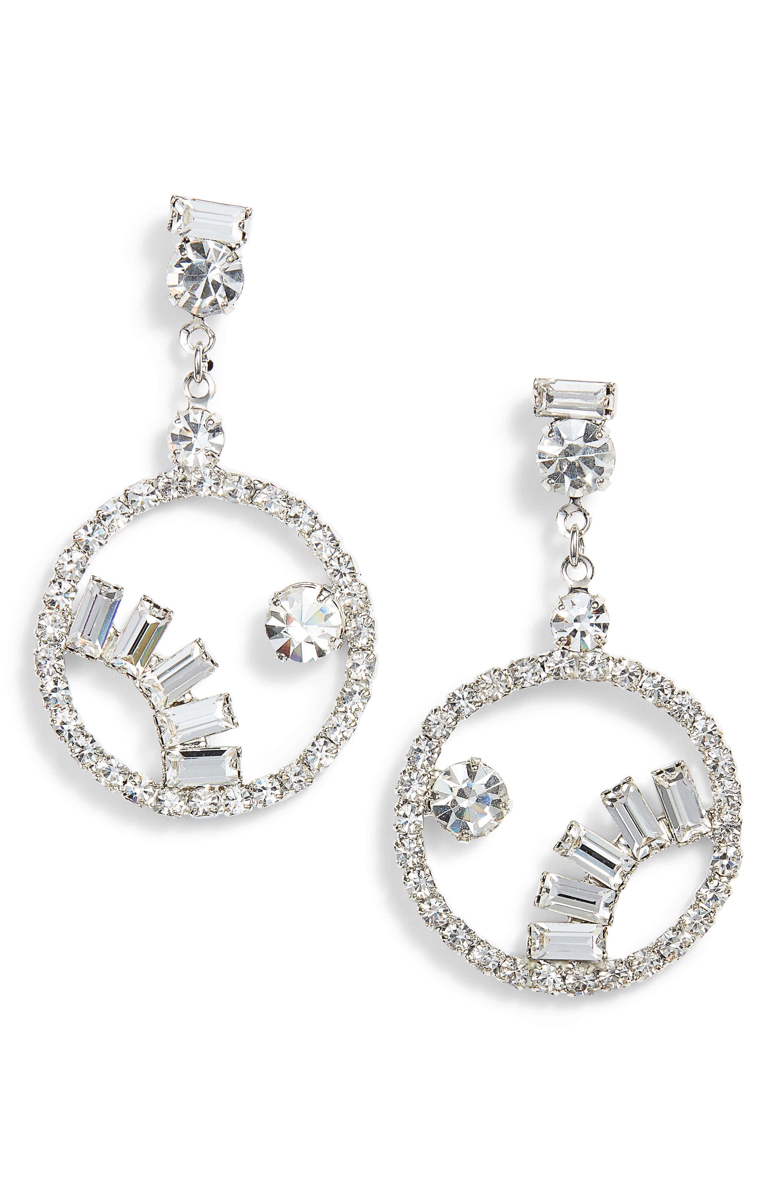Crystal Frontal Hoop Drop Earrings,                             Main thumbnail 1, color,