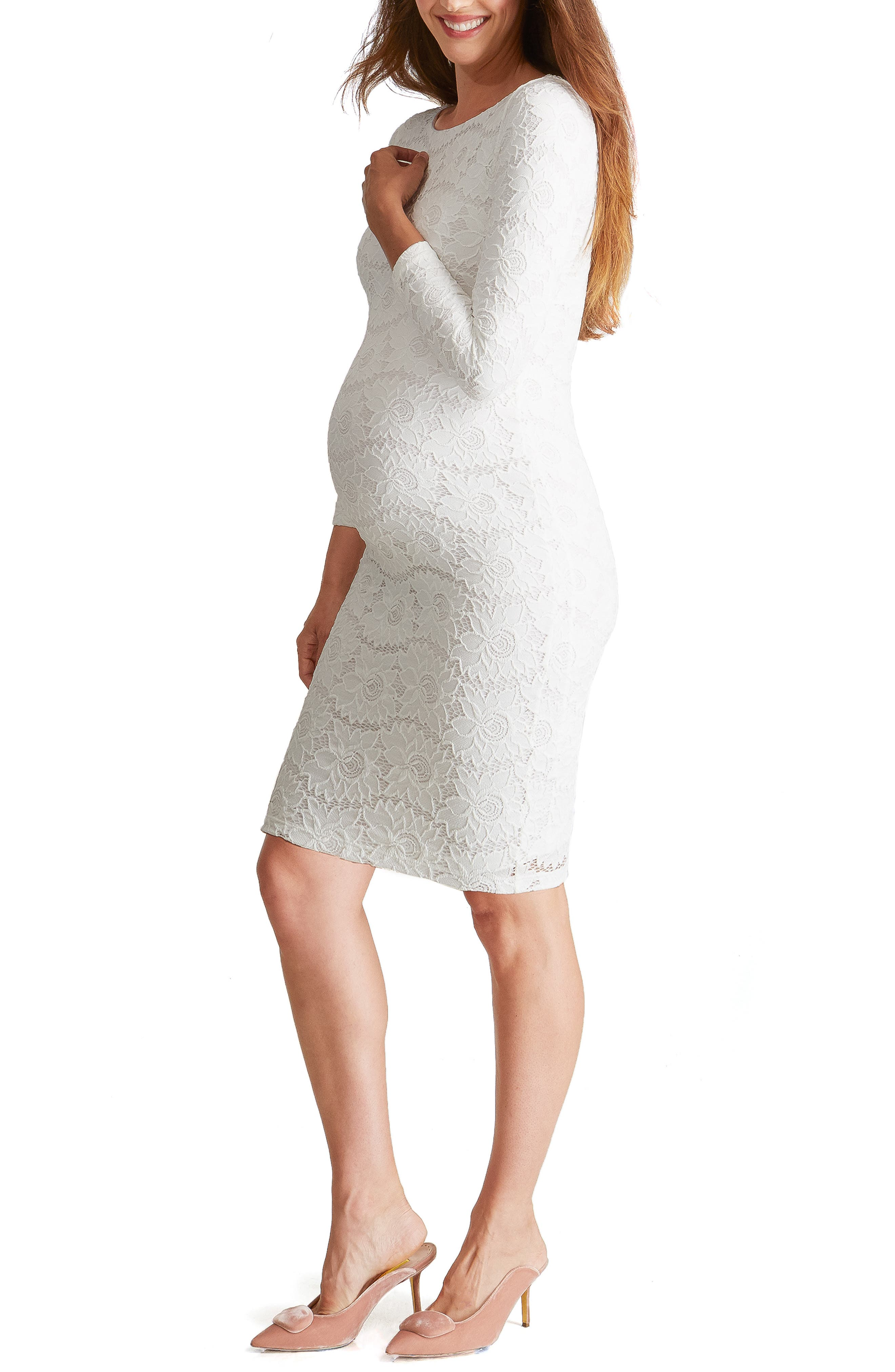 Ingrid & Isabel Floral Lace Body-Con Maternity Dress, White