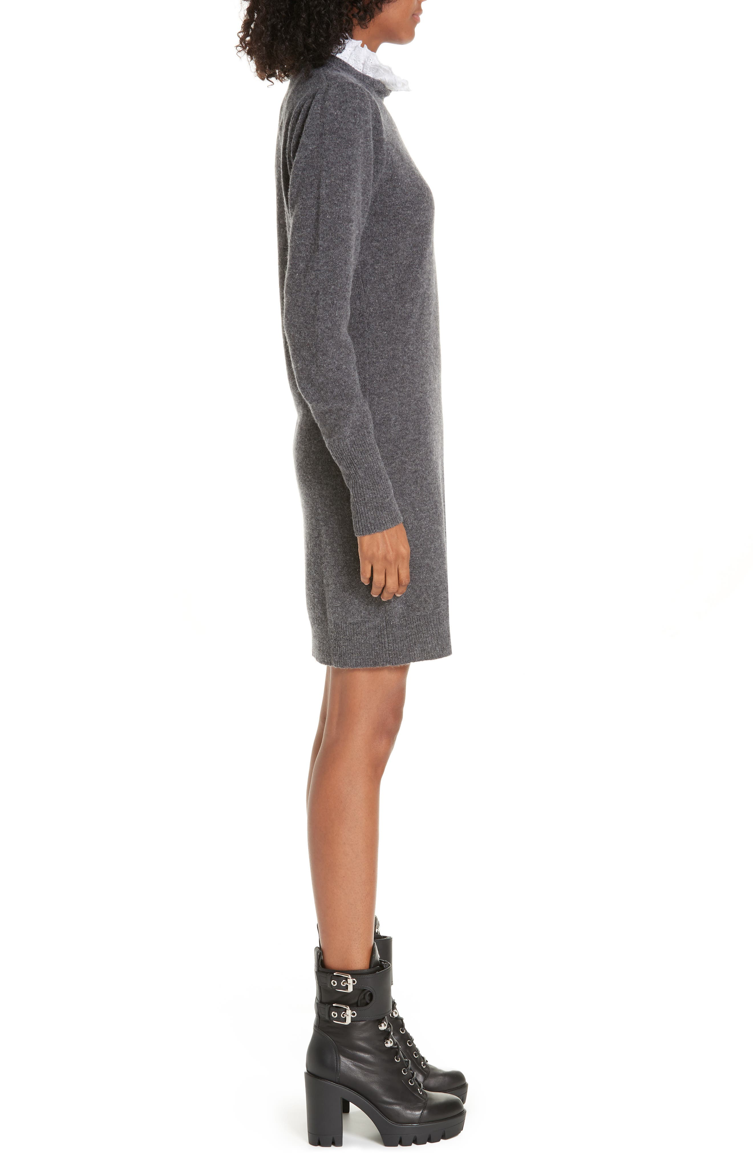 Ancolie Eyelet Collar Sweater Dress,                             Alternate thumbnail 3, color,                             020