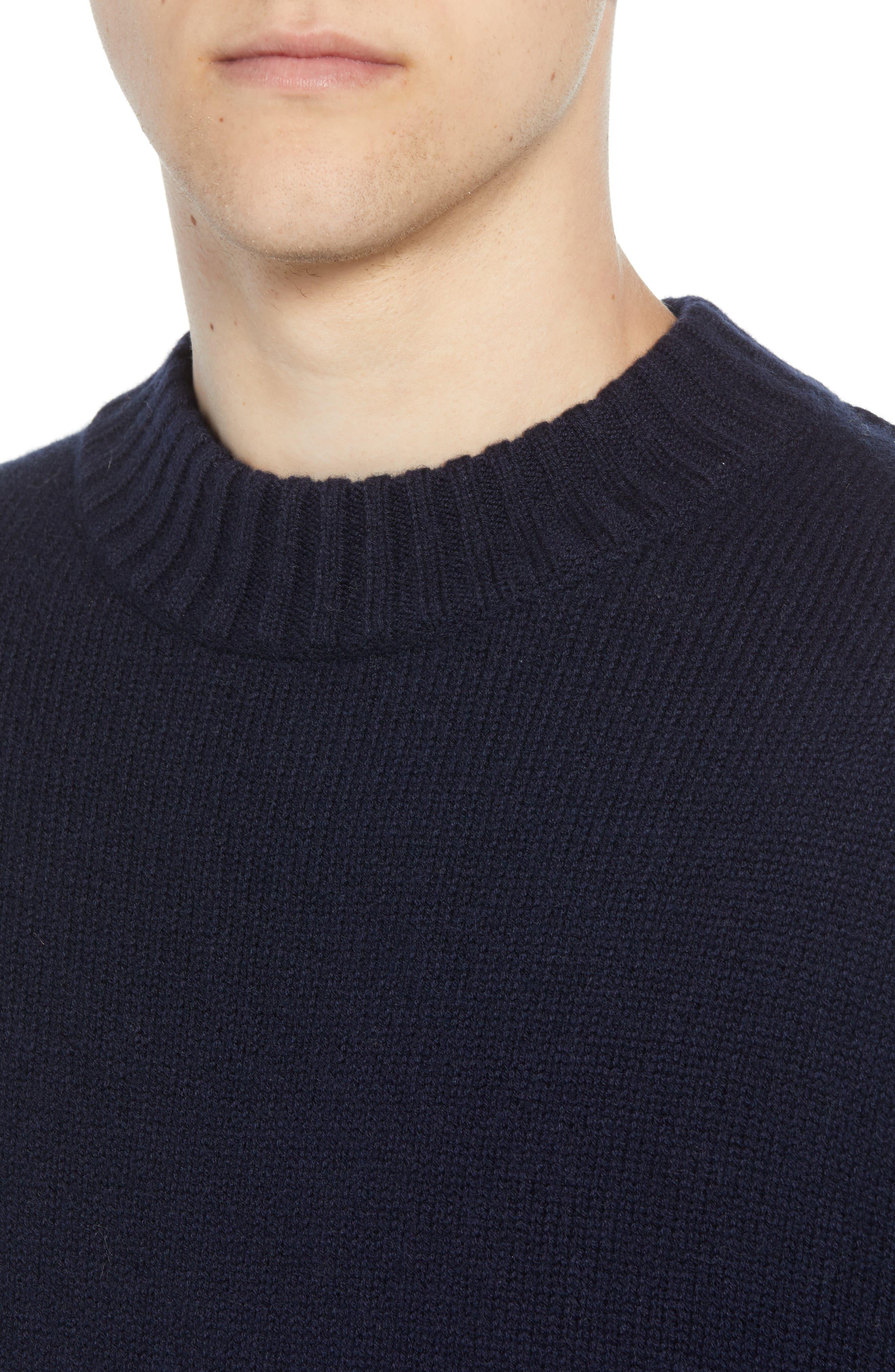 Fisherman Wool Blend Crewneck Sweater,                             Alternate thumbnail 4, color,                             UTILITY BLUE