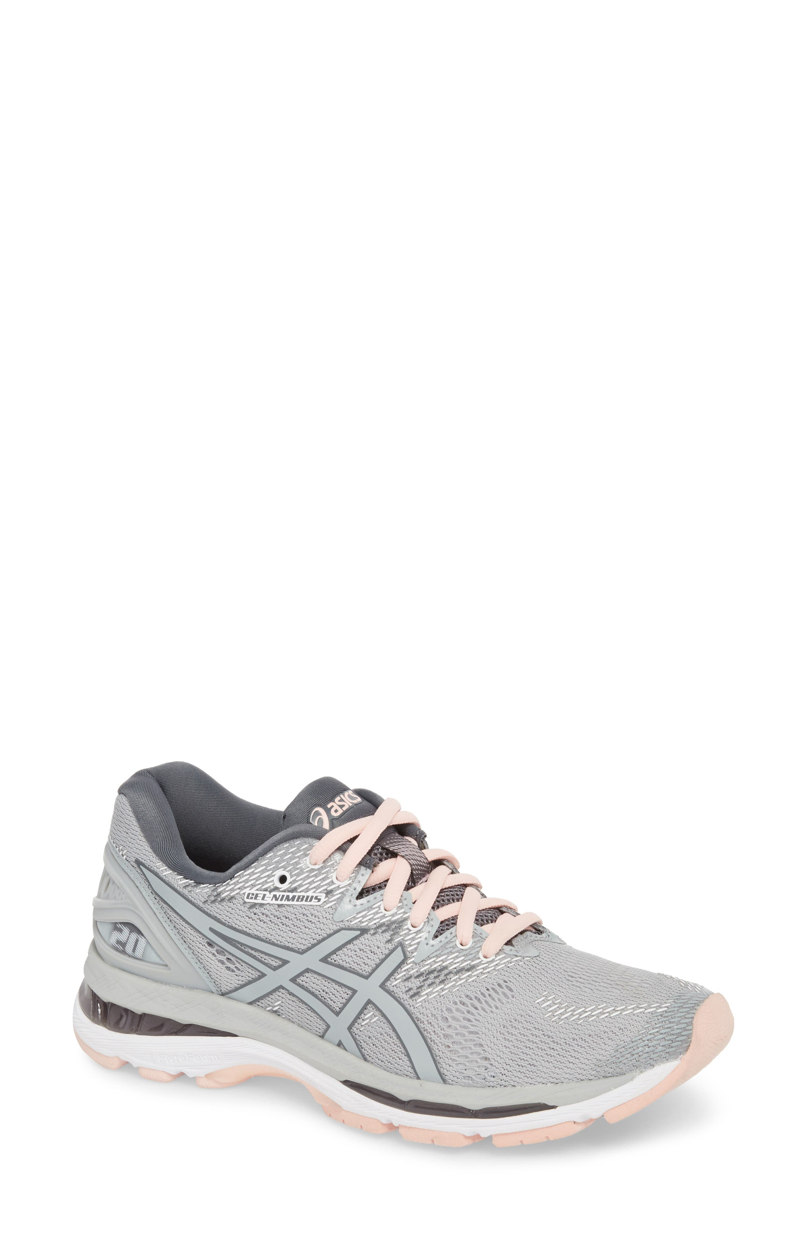 GEL<sup>®</sup>-Nimbus 20 Running Shoe,                         Main,                         color, MID GREY/ SEASHELL PINK