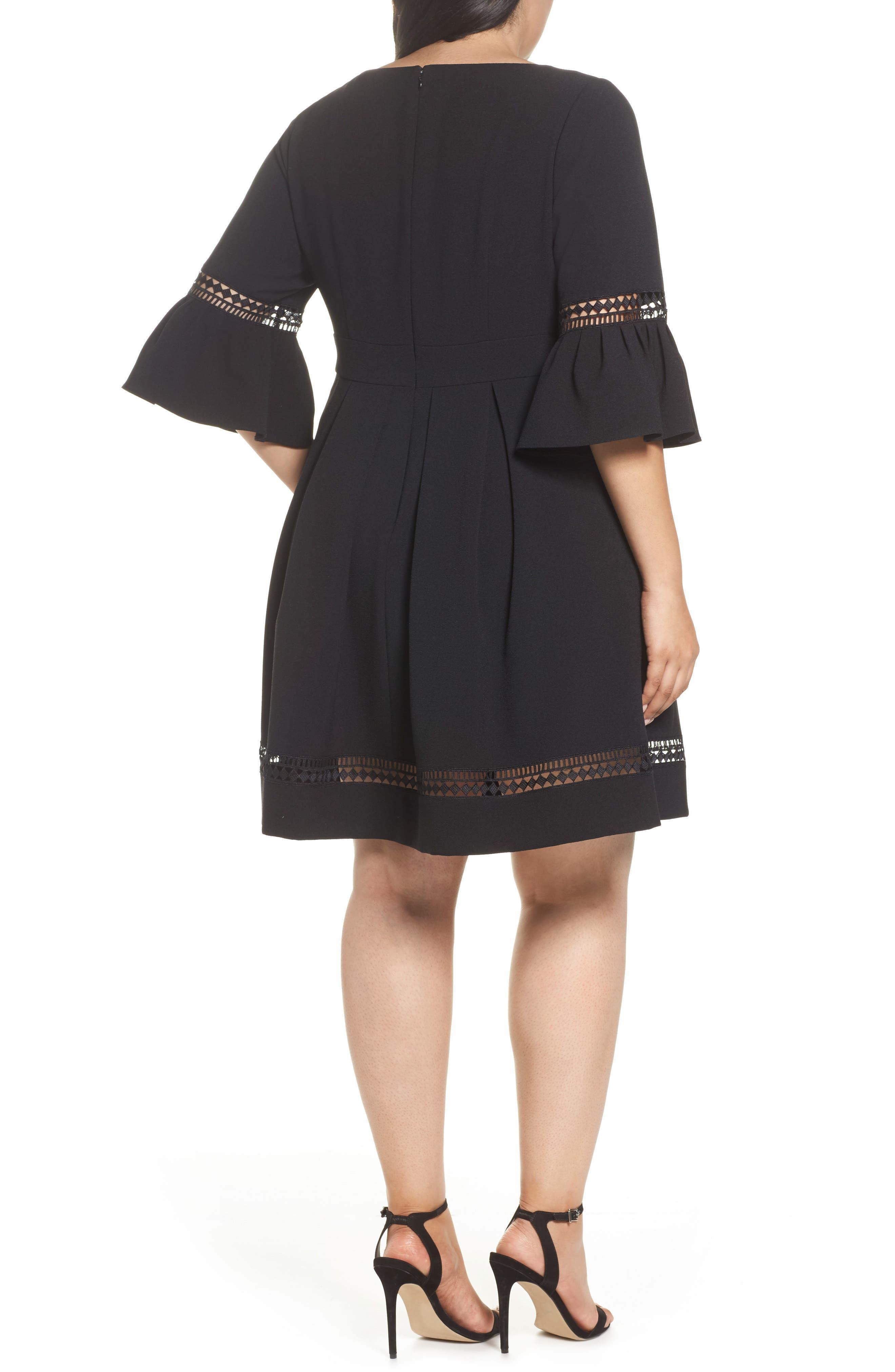 Bell Sleeve Fit & Flare Dress,                             Alternate thumbnail 2, color,                             BLACK