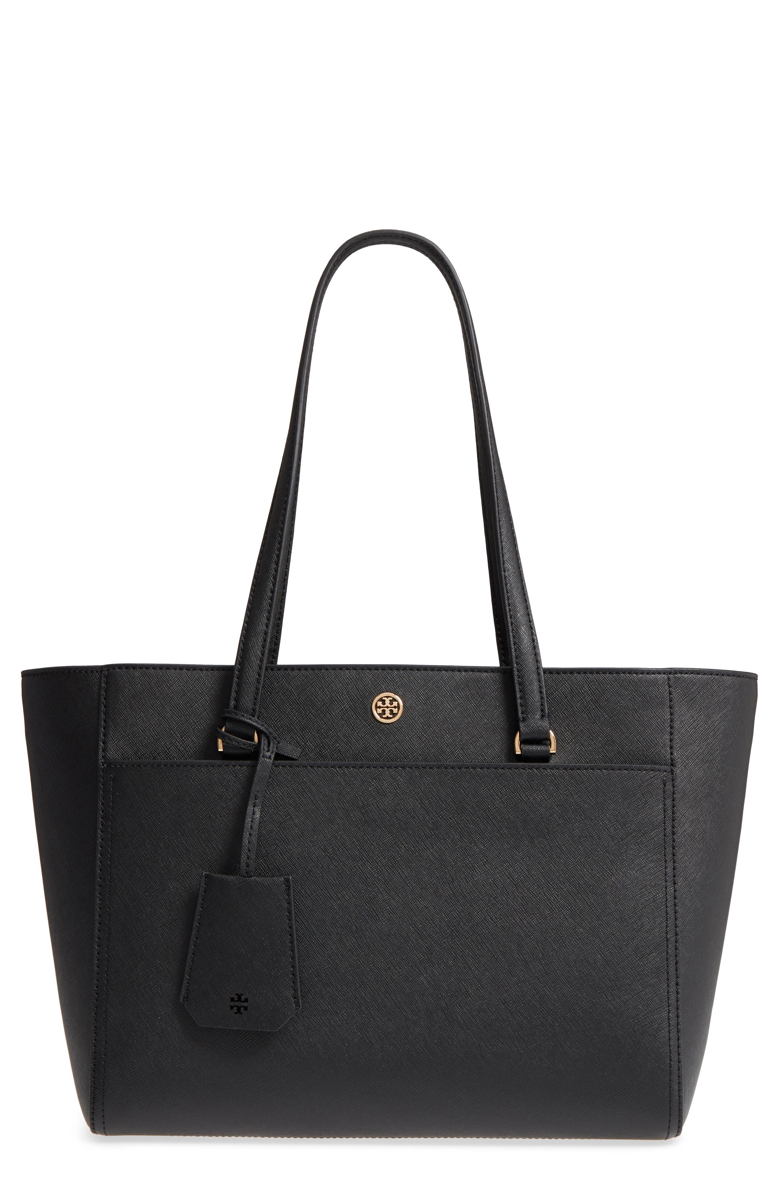 Robinson Small Saffiano Leather Zip-Top Shoulder Tote Bag in Black / Royal Navy