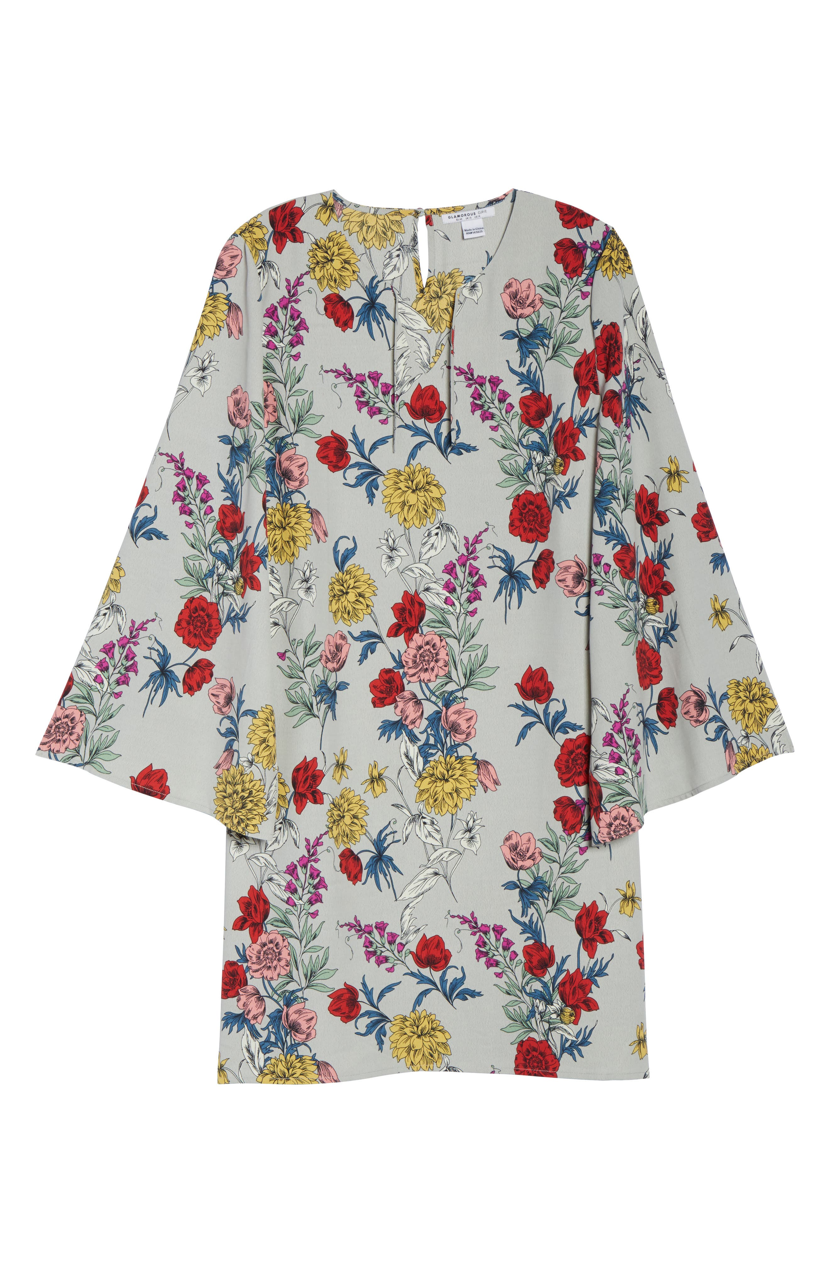 Print Bell Sleeve Shift Dress,                             Alternate thumbnail 7, color,                             020
