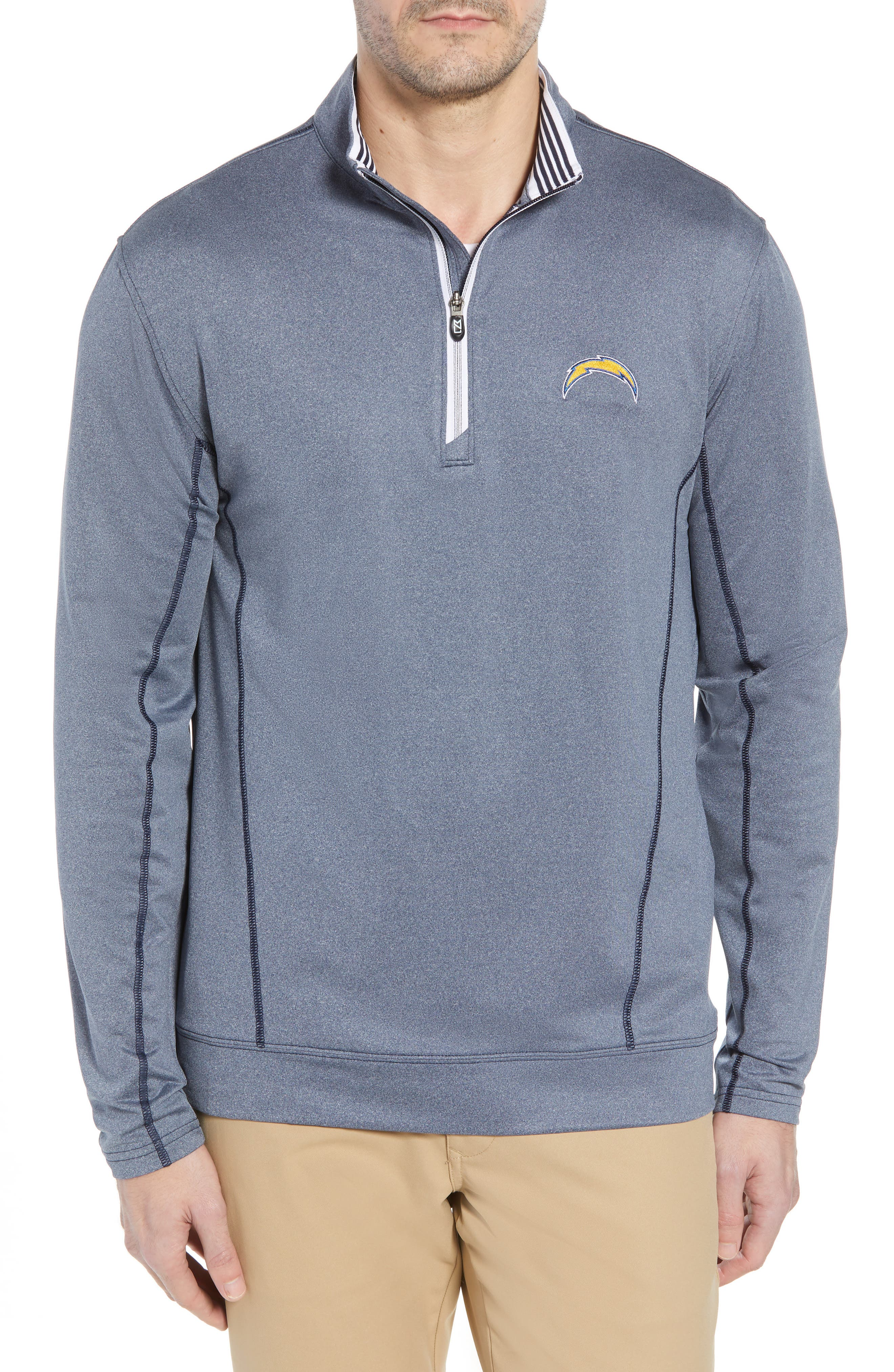 Endurance Los Angeles Chargers Regular Fit Pullover,                             Main thumbnail 1, color,                             LIBERTY NAVY HEATHER