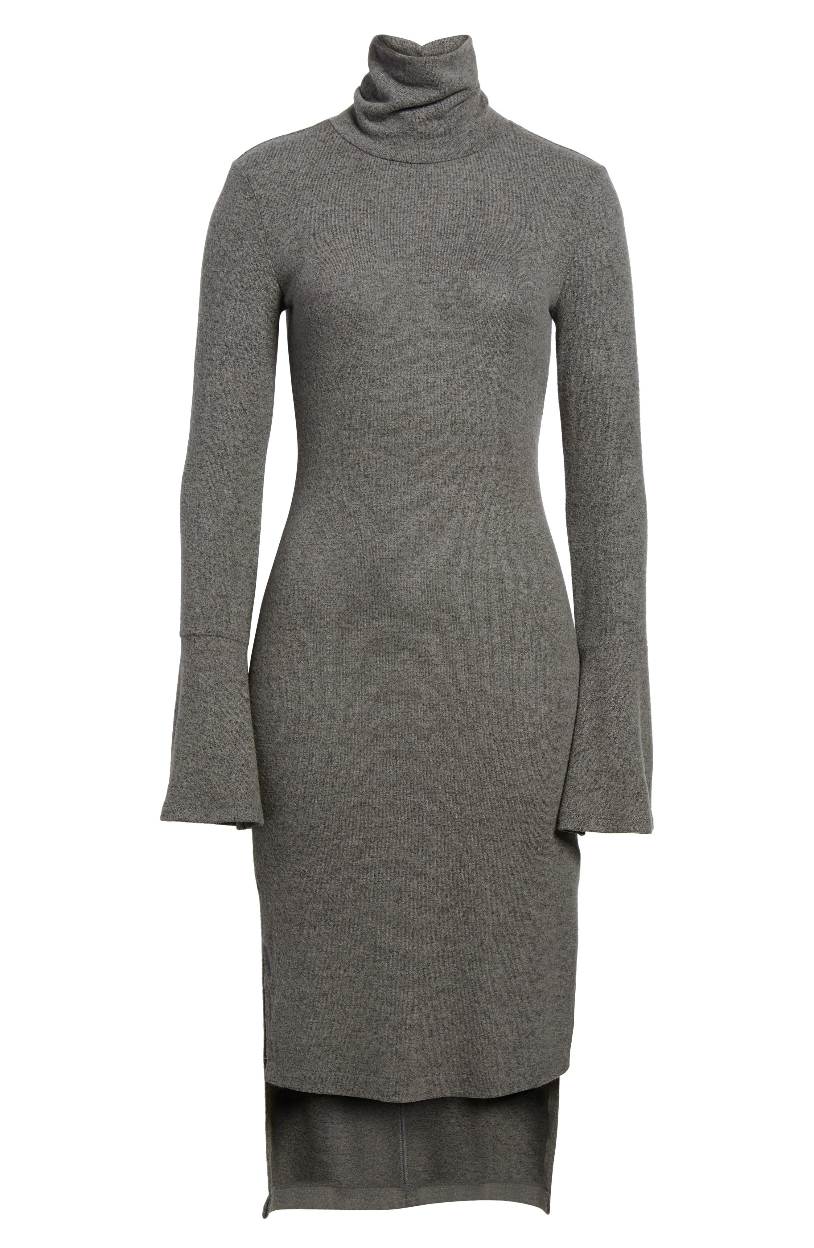 Bell Sleeve Turtleneck Midi Dress,                             Alternate thumbnail 6, color,                             020