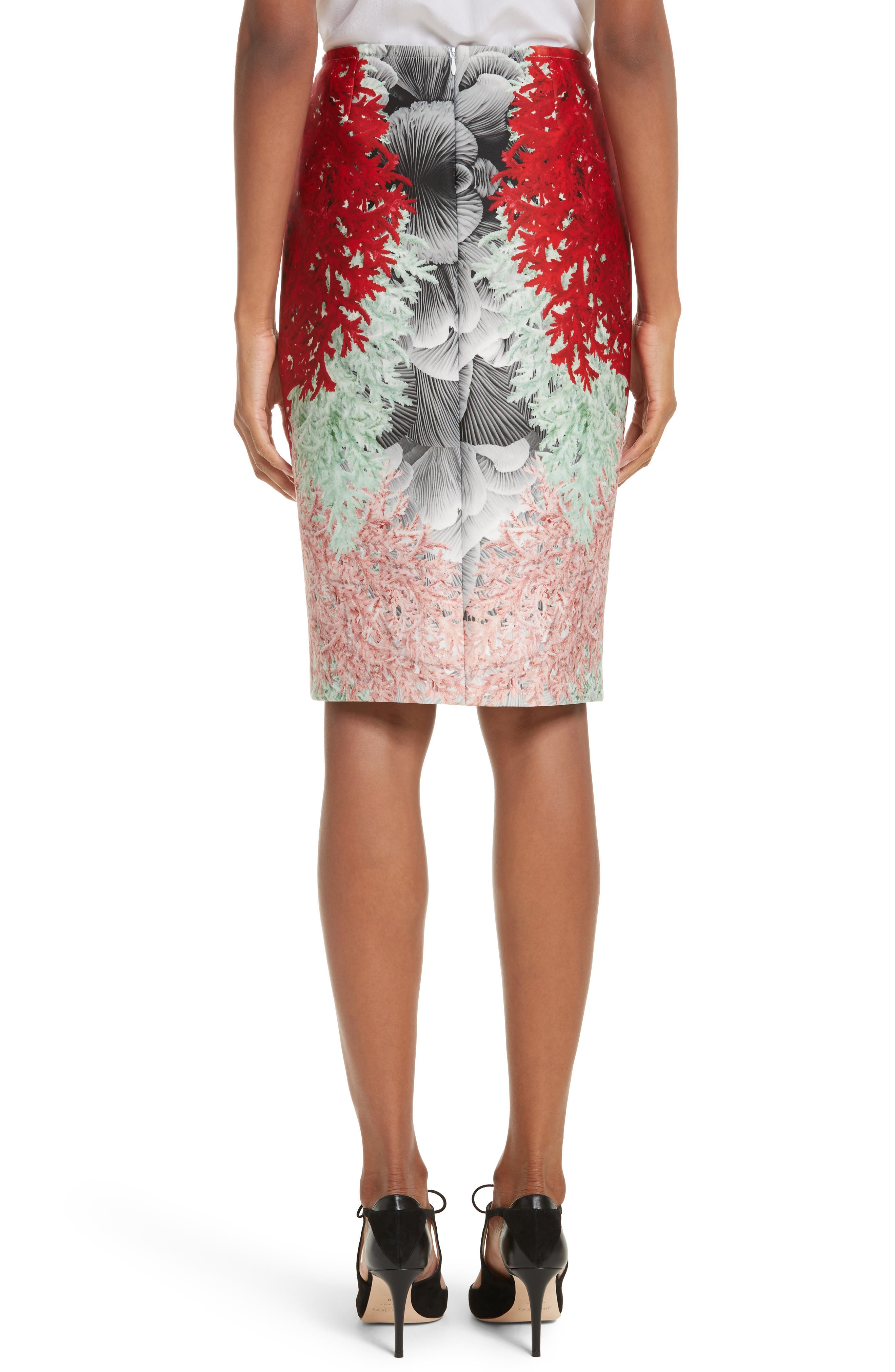 Coral Print Scuba Pencil Skirt,                             Alternate thumbnail 2, color,