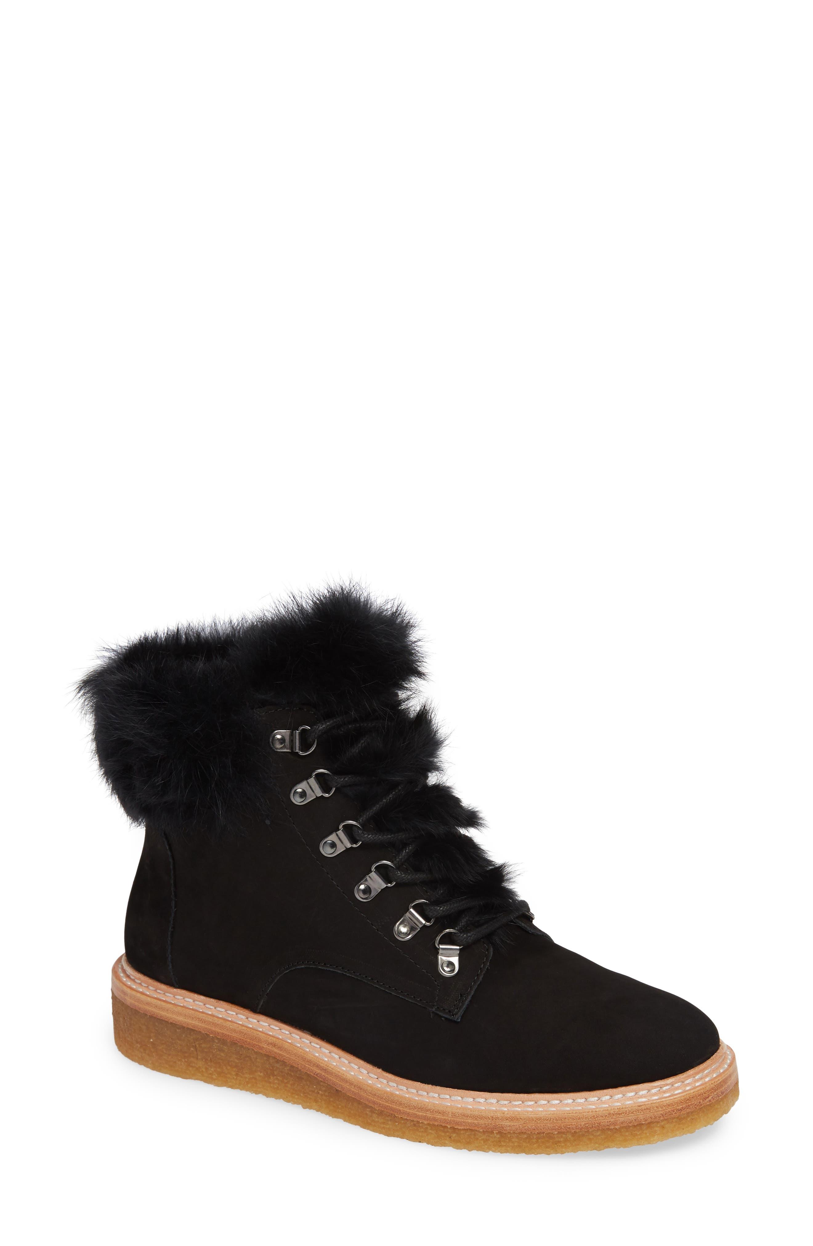 BOTKIER,                             Winter Genuine Rabbit Fur Trim Boot,                             Main thumbnail 1, color,                             BLACK SUEDE
