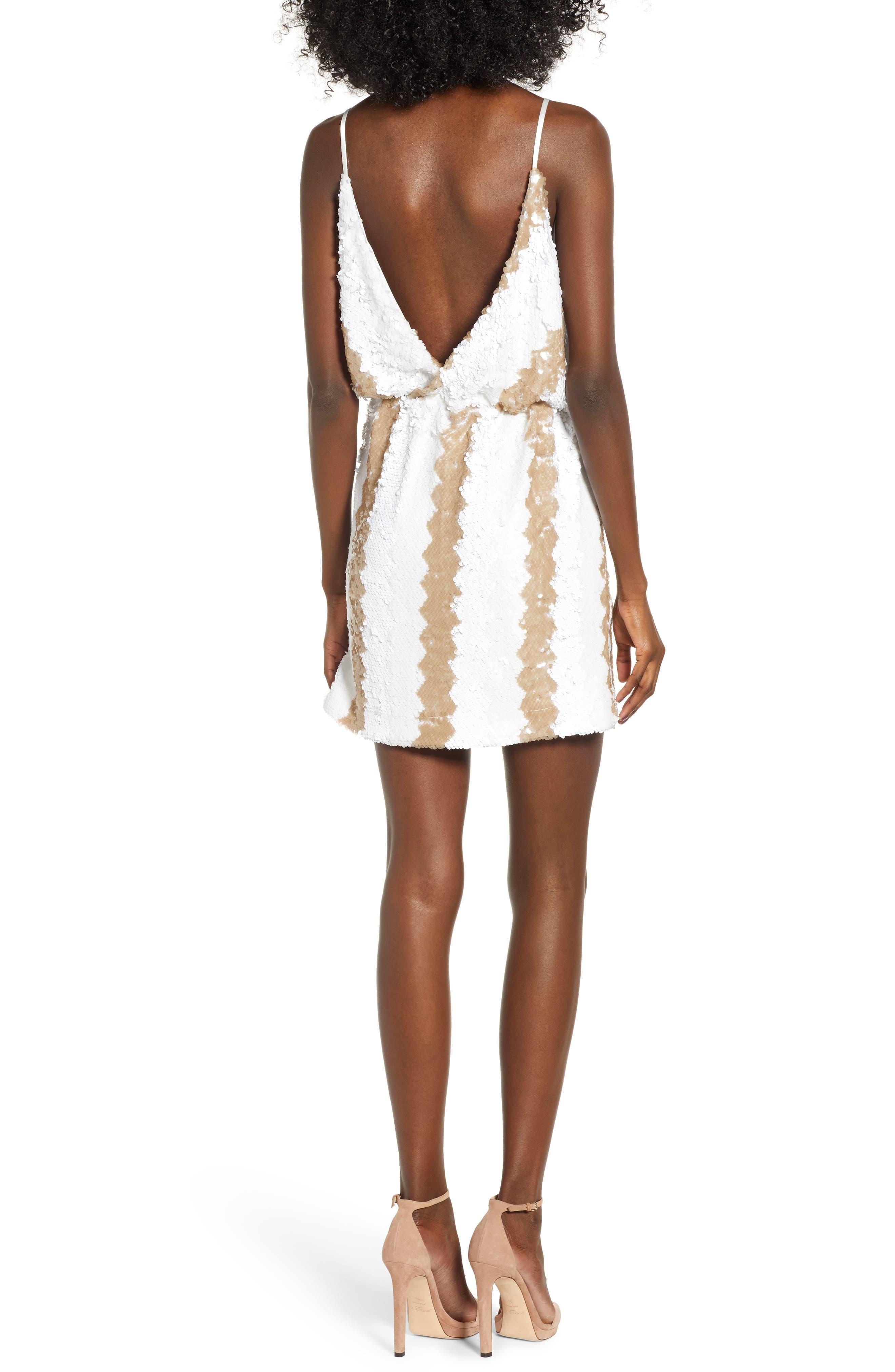 Sequin Minidress,                             Alternate thumbnail 2, color,                             WHITE