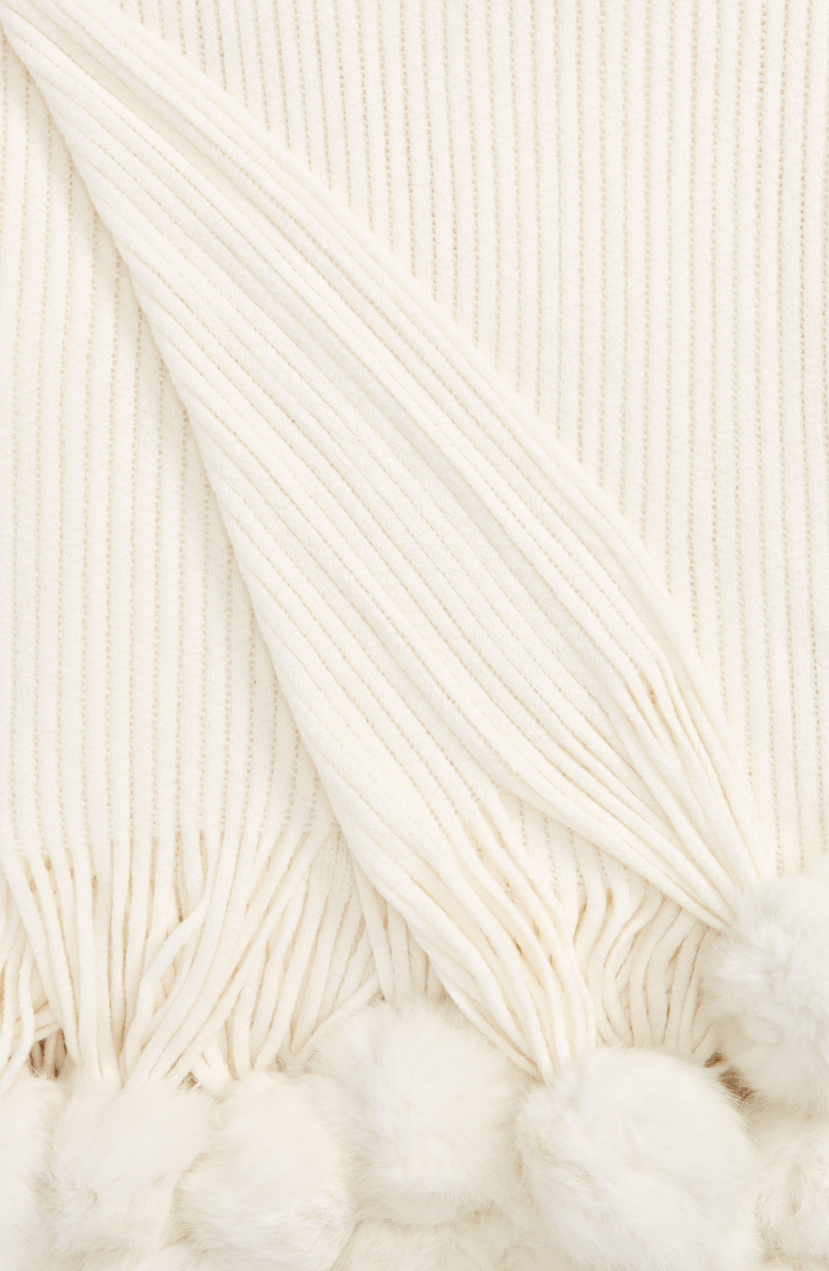 Genuine Rabbit Fur Pompom Rib Knit Throw,                             Alternate thumbnail 10, color,