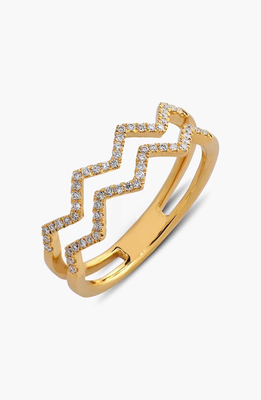 Prism 2-Row Diamond Ring,                             Main thumbnail 1, color,                             YELLOW GOLD