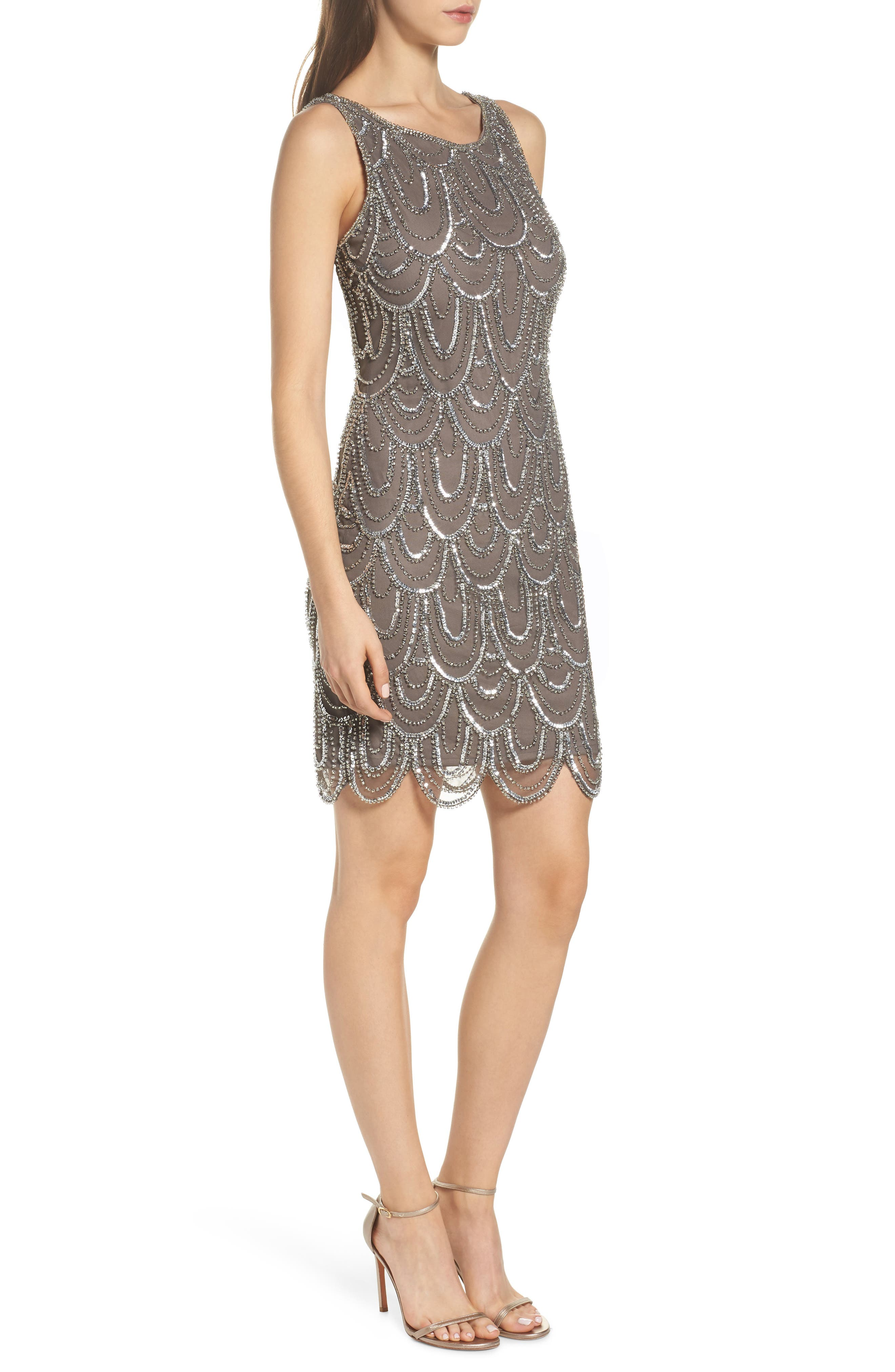 Embellished Mesh Sheath Dress,                             Alternate thumbnail 3, color,                             073