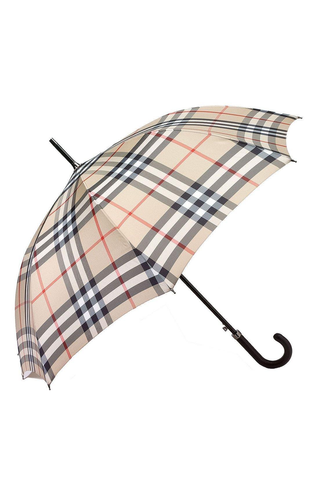 BURBERRY Giant Check Umbrella, Main, color, 231
