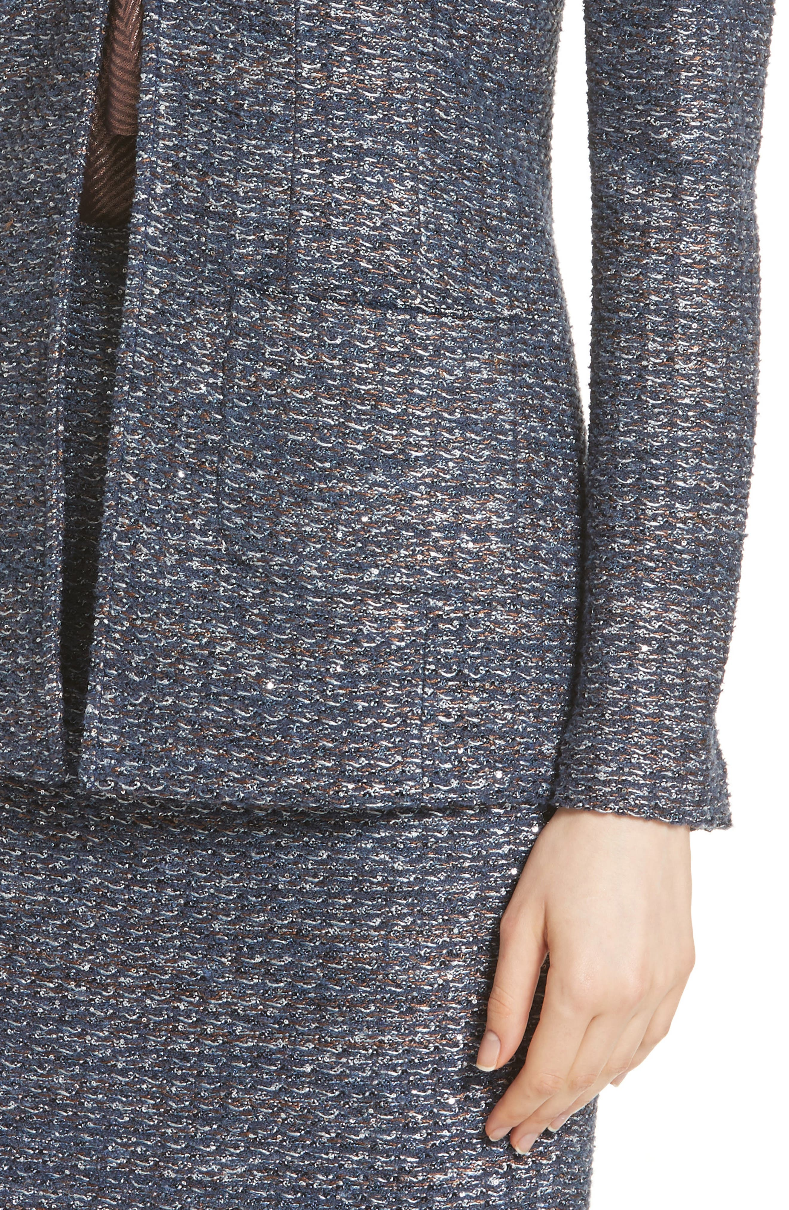 Copper Sequin Tweed Knit Jacket,                             Alternate thumbnail 4, color,                             410