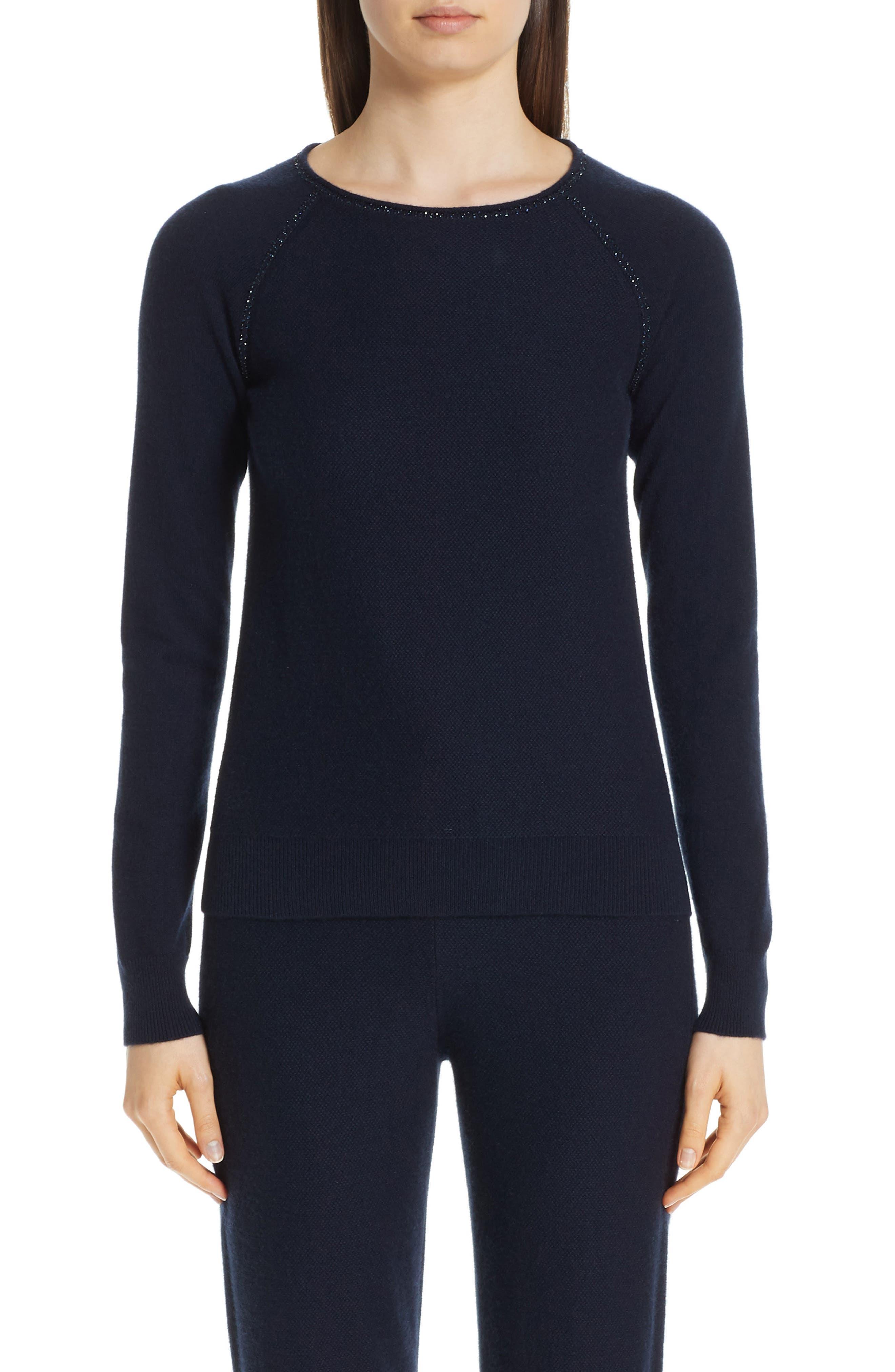 Cashmere Raglan Sweater, Main, color, NAVY
