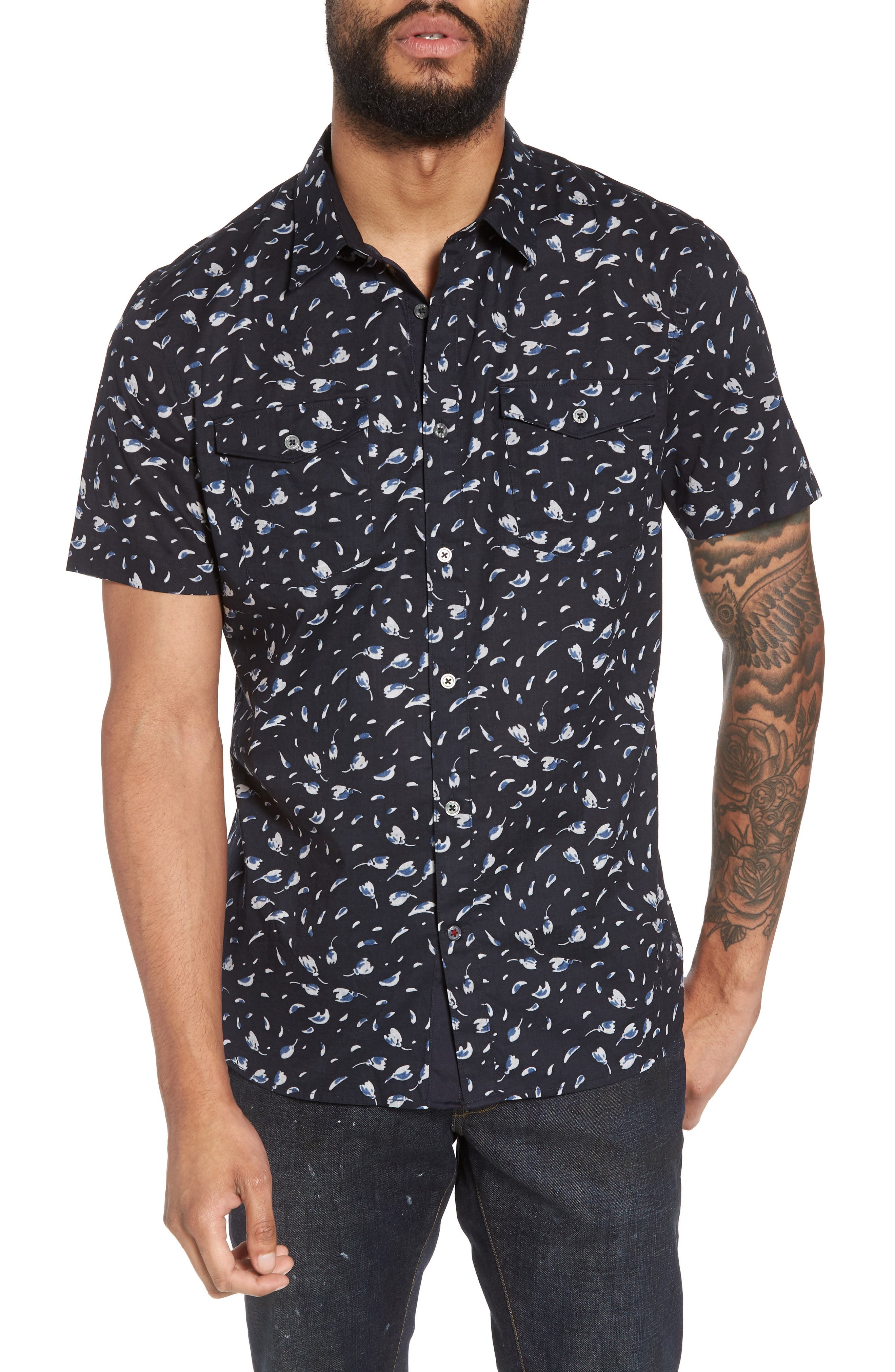 Extra Slim Fit Print Sport Shirt,                         Main,                         color, 405