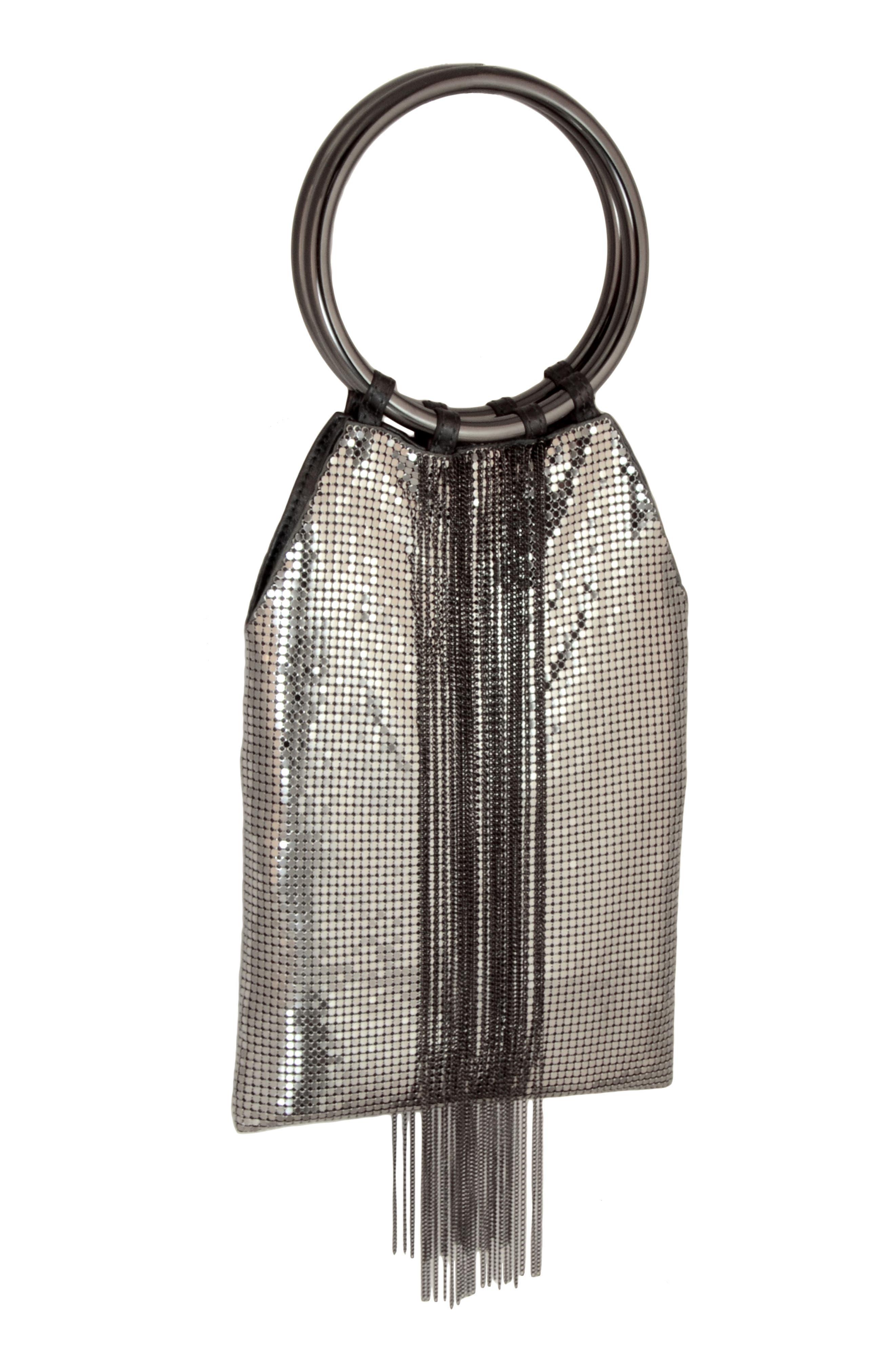 Cascade Fringe Mesh Bracelet Bag - Grey in Pewter