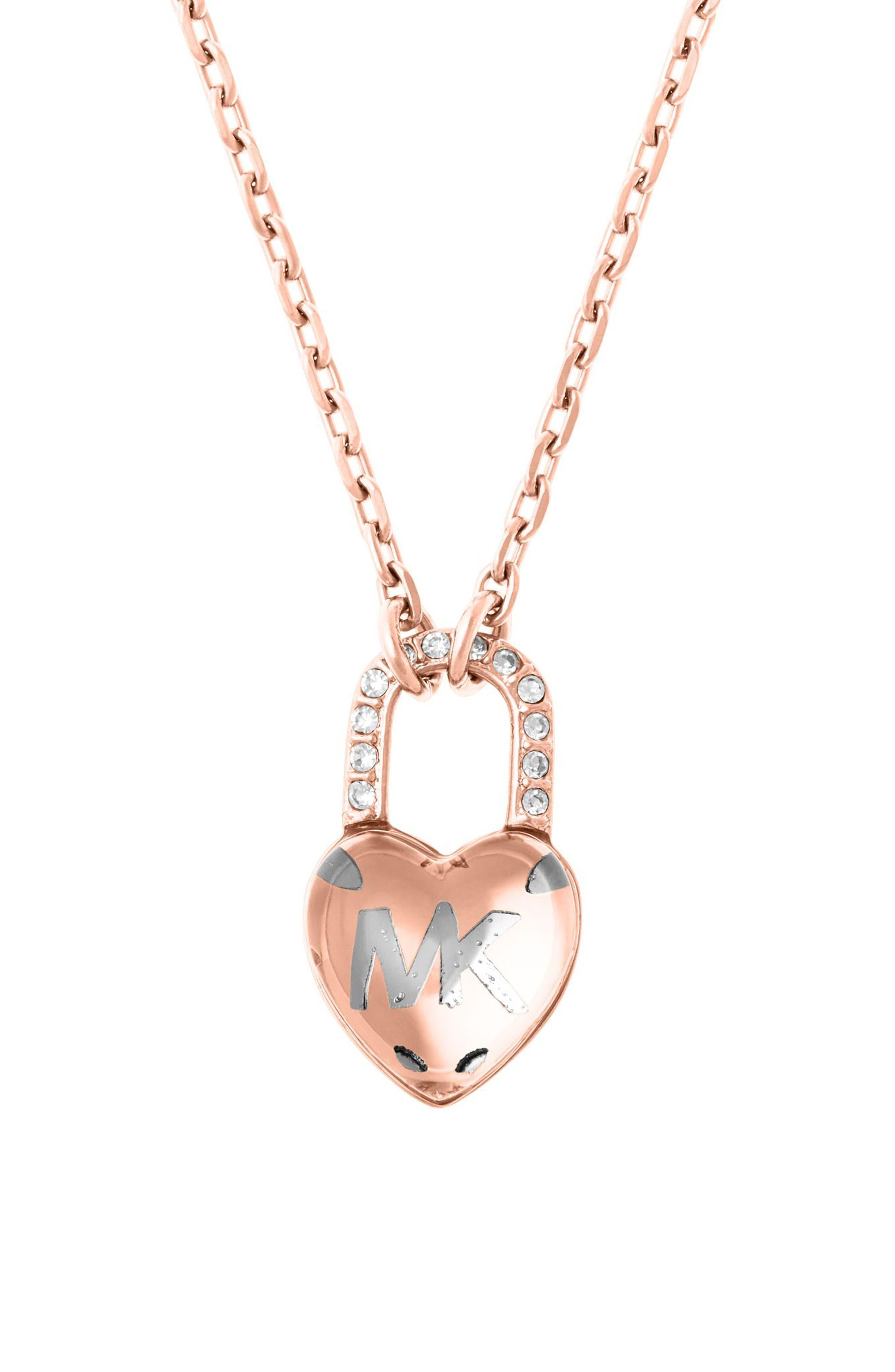 Heart Padlock Pendant Necklace,                             Alternate thumbnail 3, color,                             650