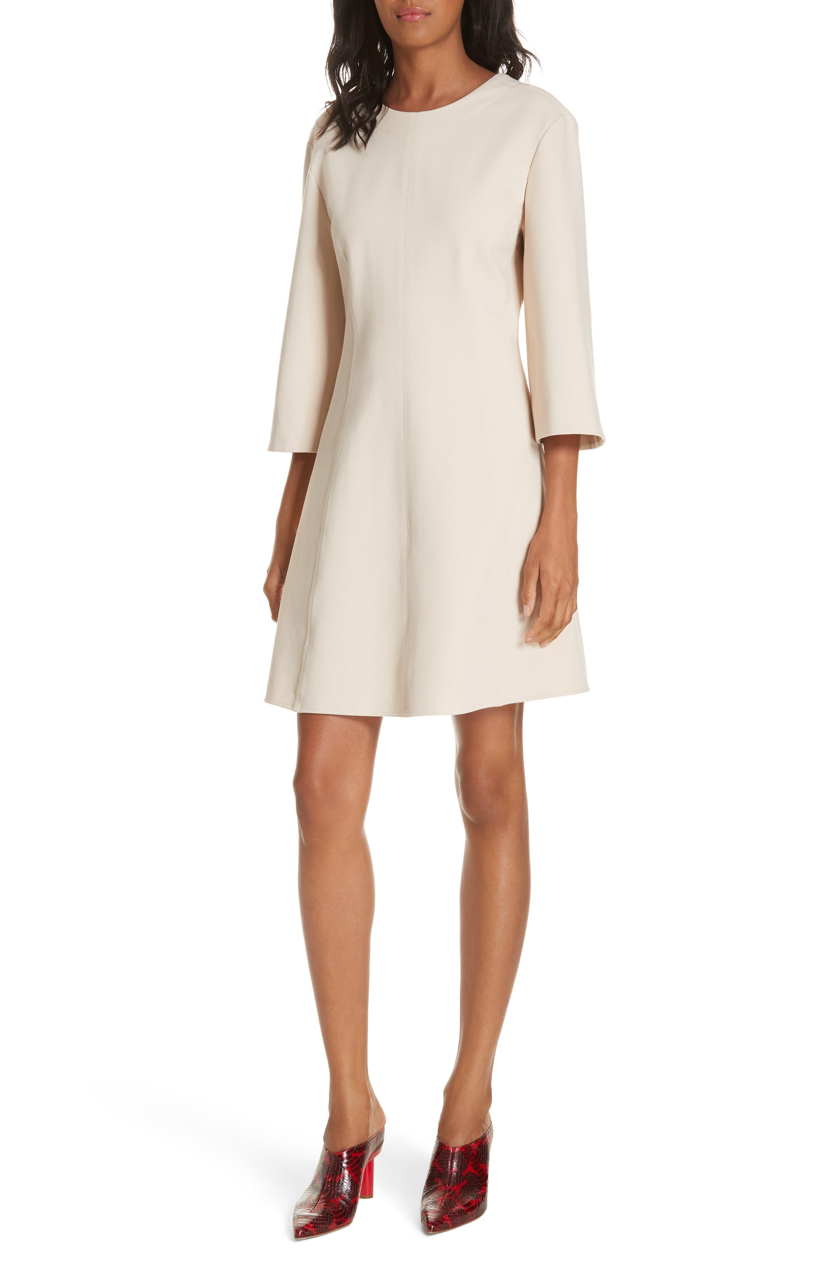 Tibi Bond Stretch Knit Wrap Back Dress, Ivory