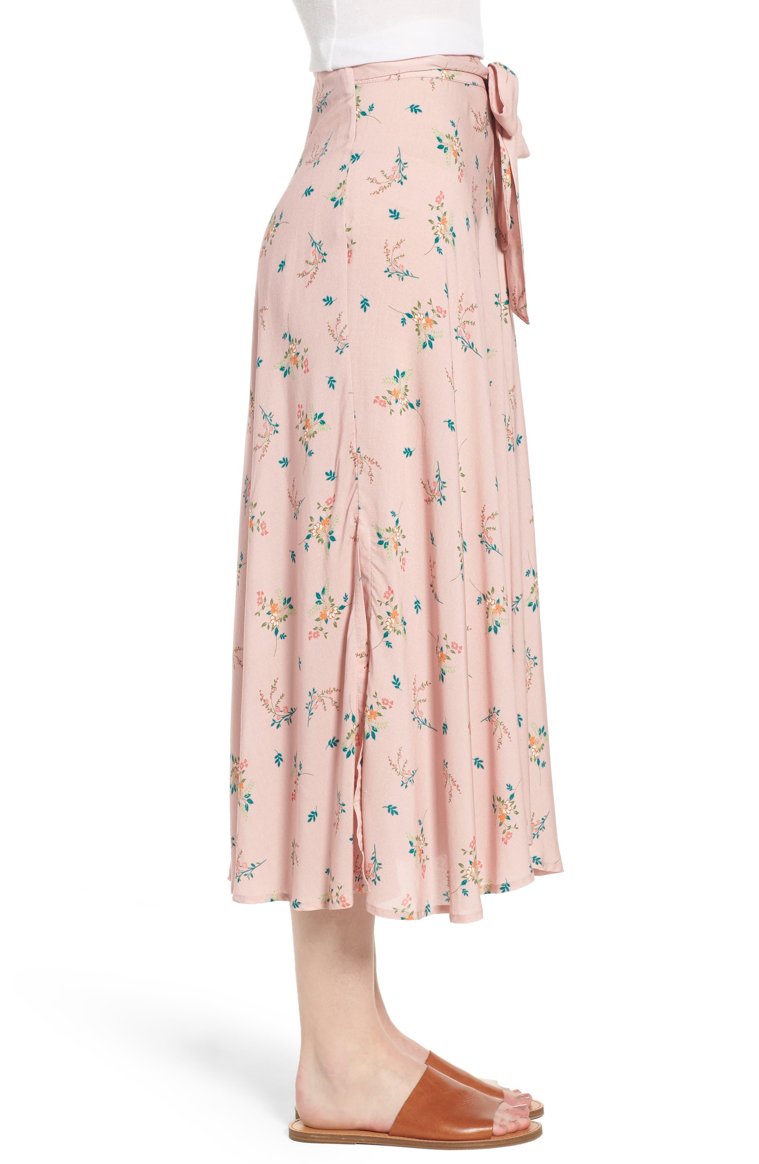 Floral Print Midi Skirt,                             Alternate thumbnail 3, color,                             657