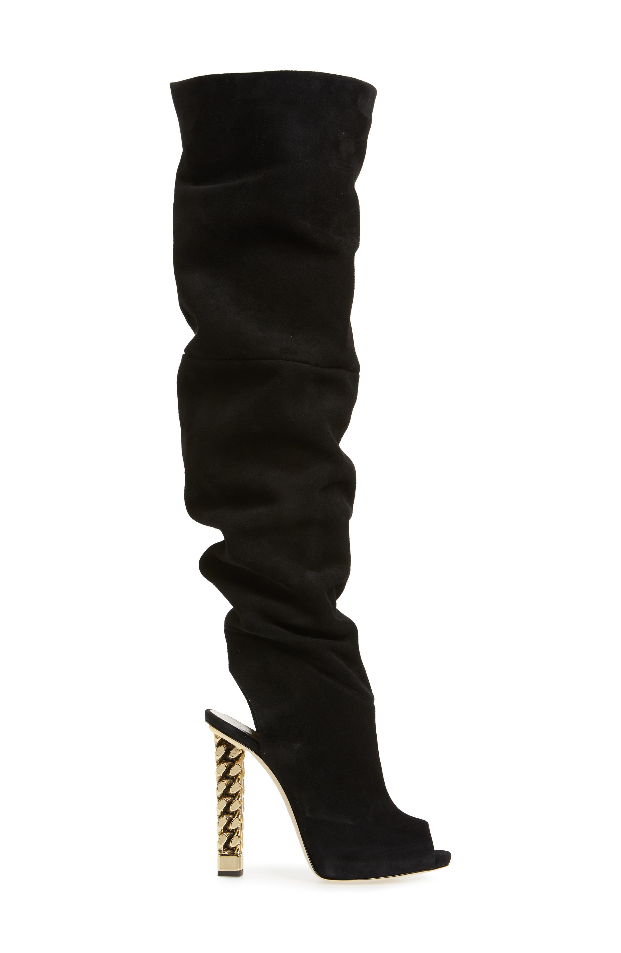 x Rita Ora Chain Heel Over the Knee Boot,                             Alternate thumbnail 3, color,                             BLACK