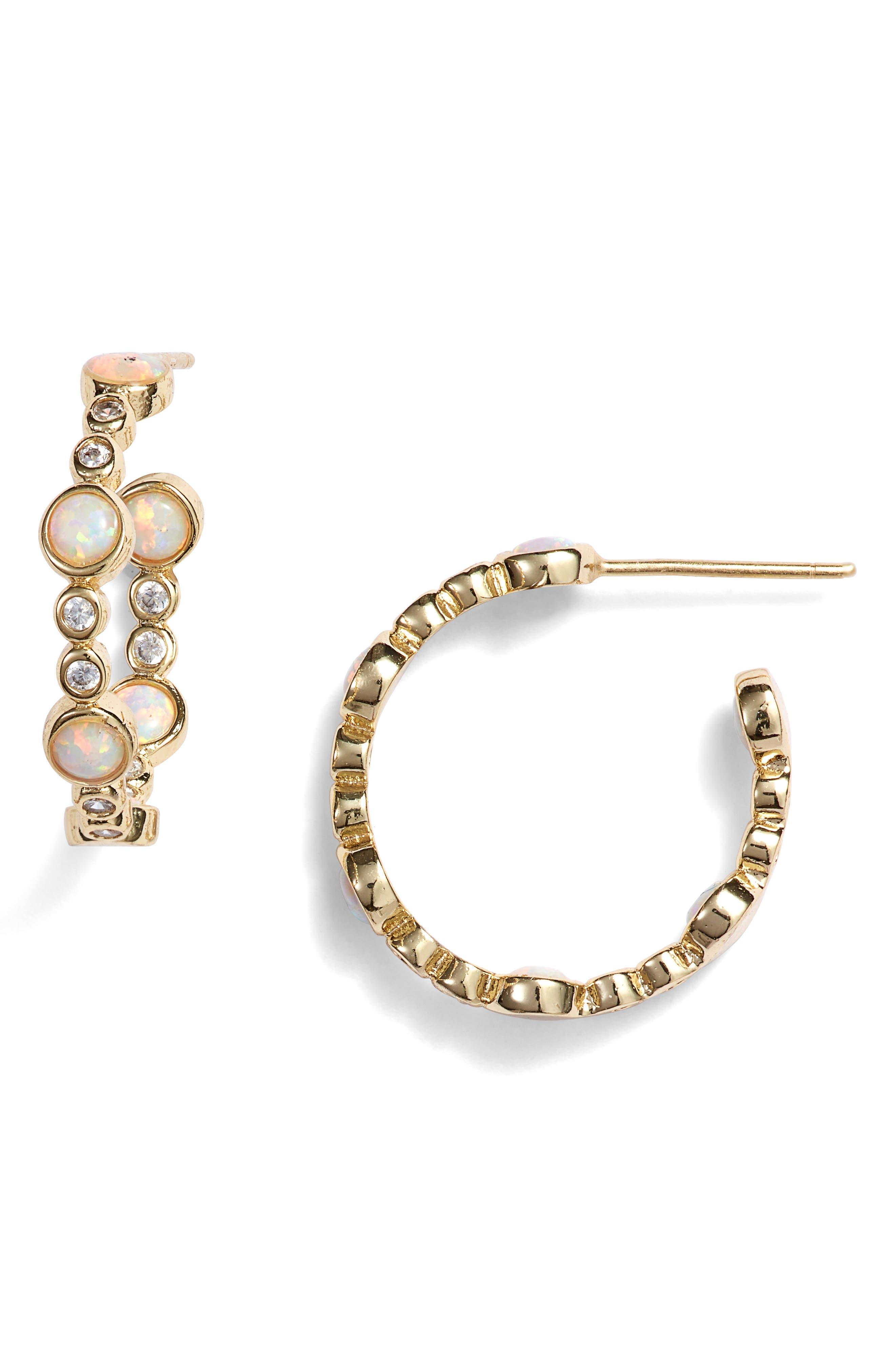 MELINDA MARIA Allison Hoop Earrings in White Opal/ Clear/ Gold