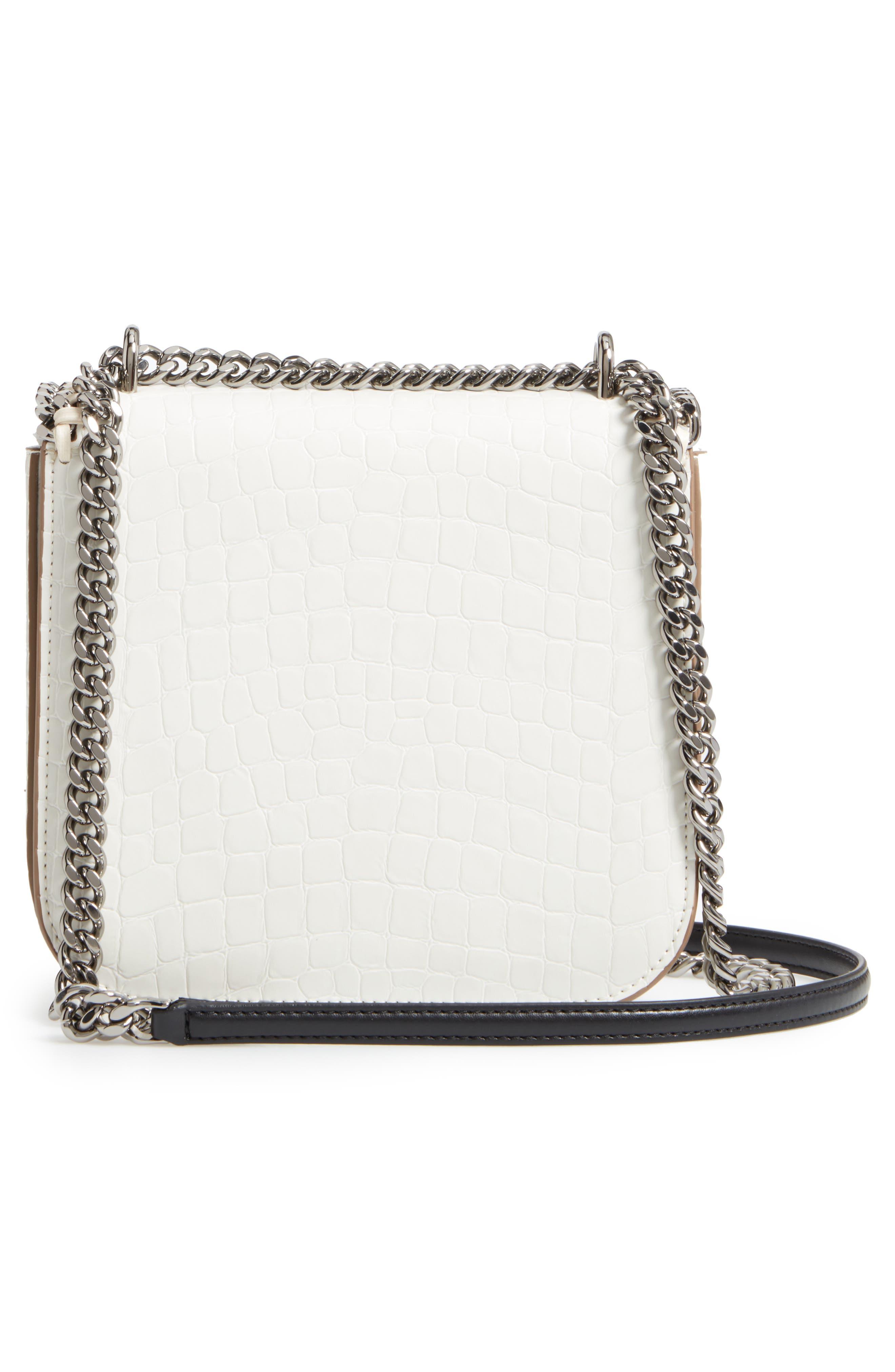 Medium Falabella Box Croc-Embossed Faux Leather Shoulder Bag,                             Alternate thumbnail 3, color,                             102