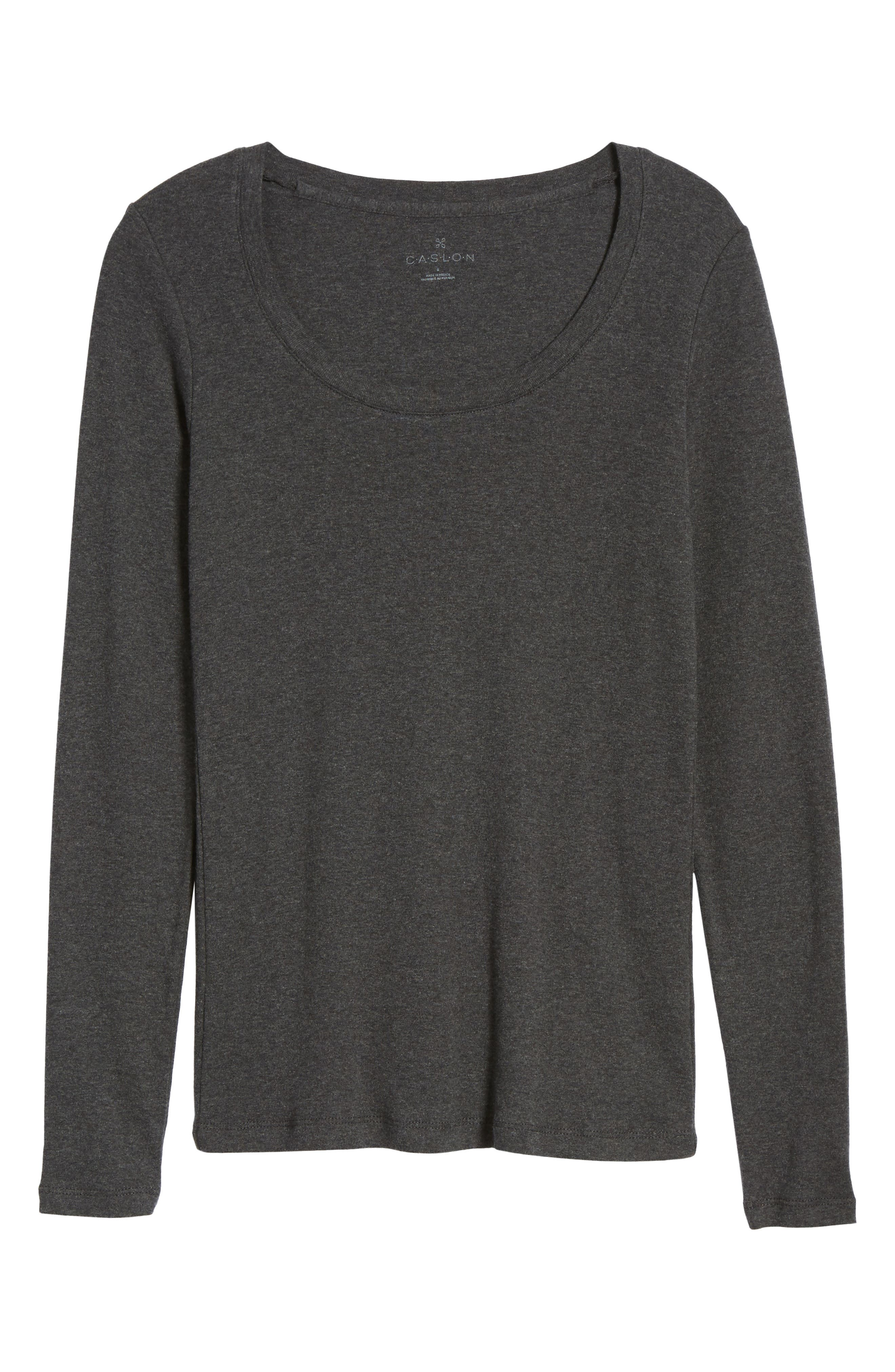 CASLON<SUP>®</SUP>,                             'Melody' Long Sleeve Scoop Neck Tee,                             Alternate thumbnail 6, color,                             HEATHER CHARCOAL