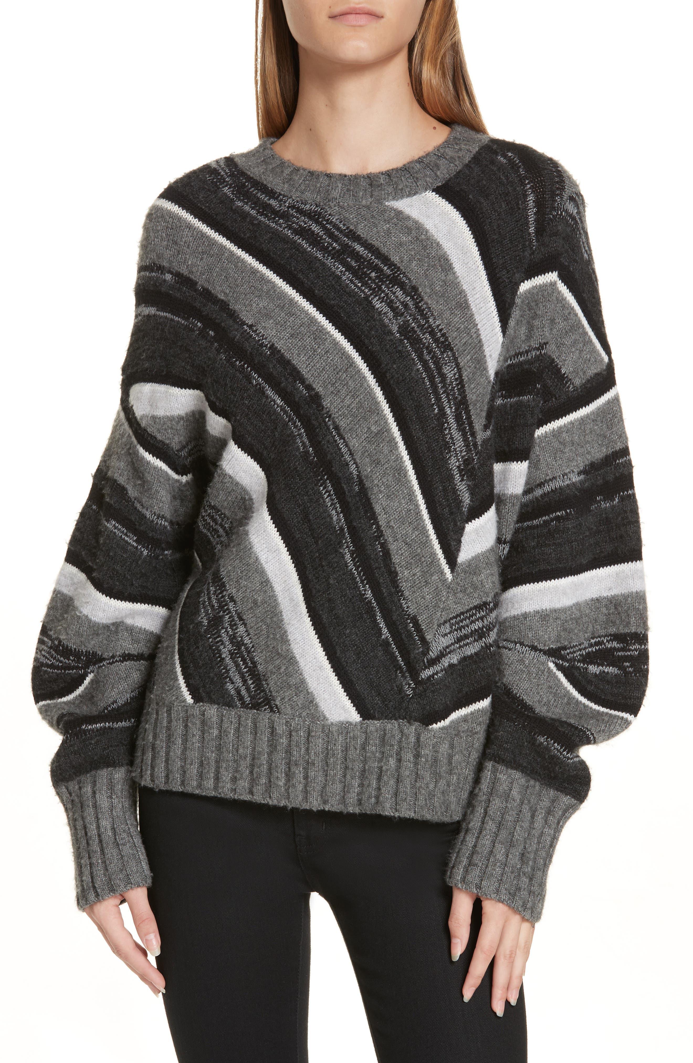 Wool Blend Ombré Stripe Sweater,                             Main thumbnail 1, color,                             020