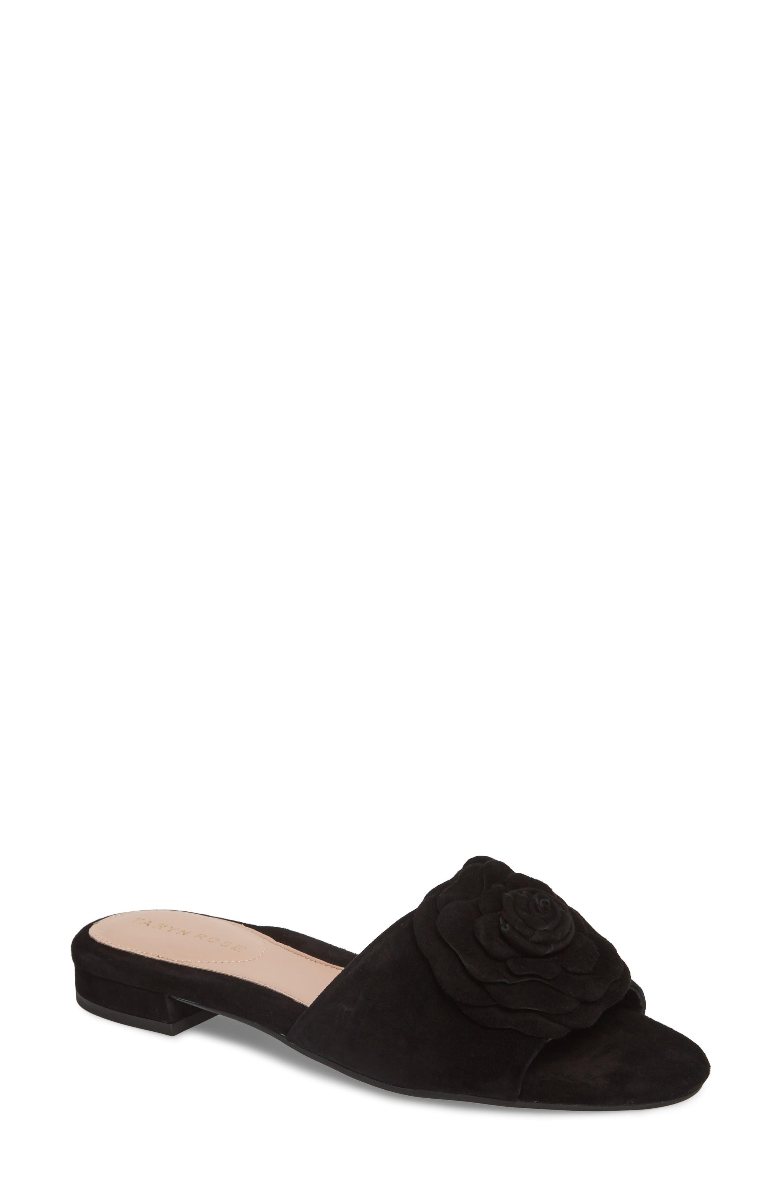 Violet Flower Slide Sandal,                             Main thumbnail 1, color,                             BLACK SUEDE