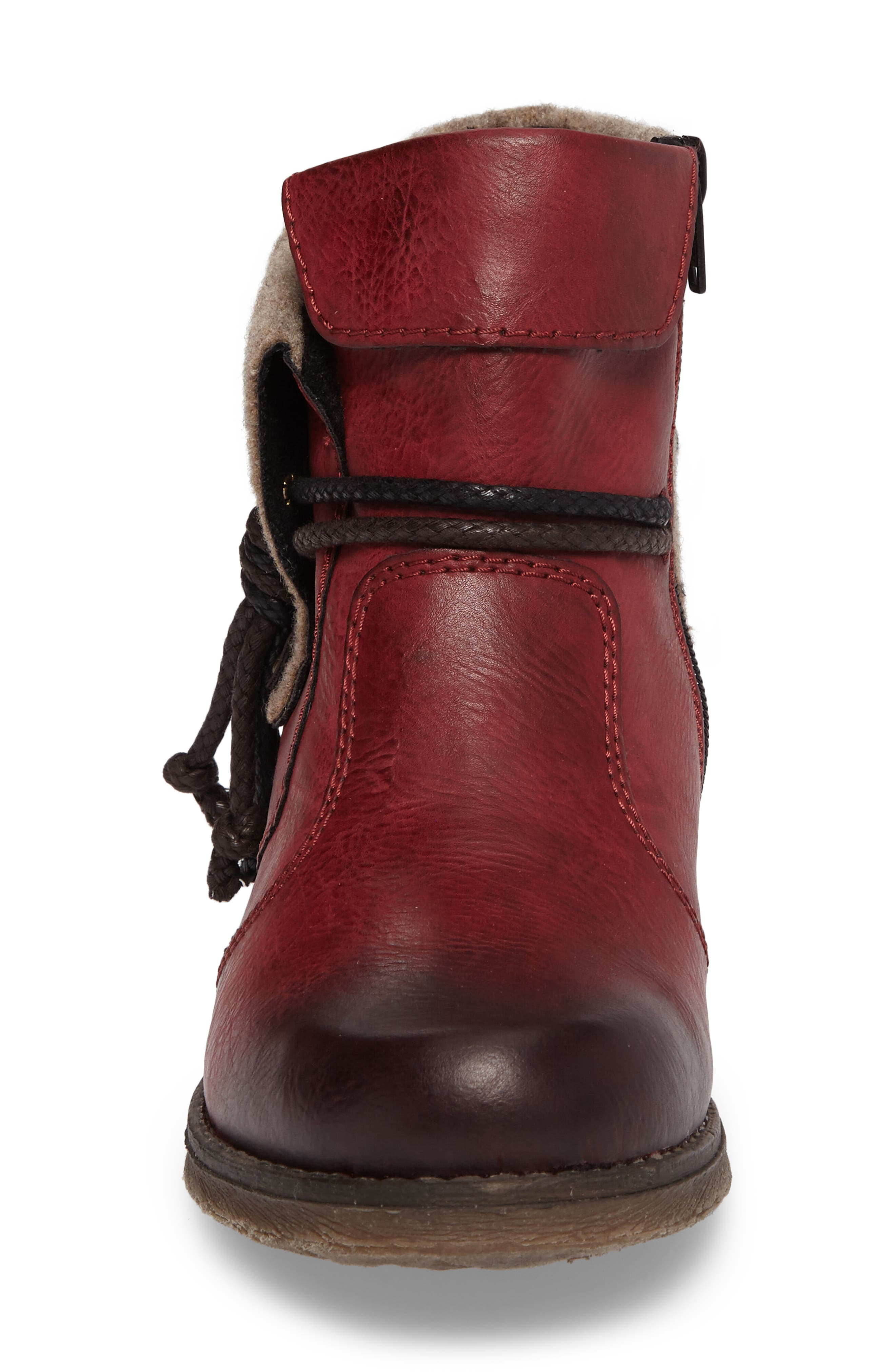 'Fee 93' Cuffed Shaft Bootie,                             Alternate thumbnail 4, color,                             WINE FAUX LEATHER