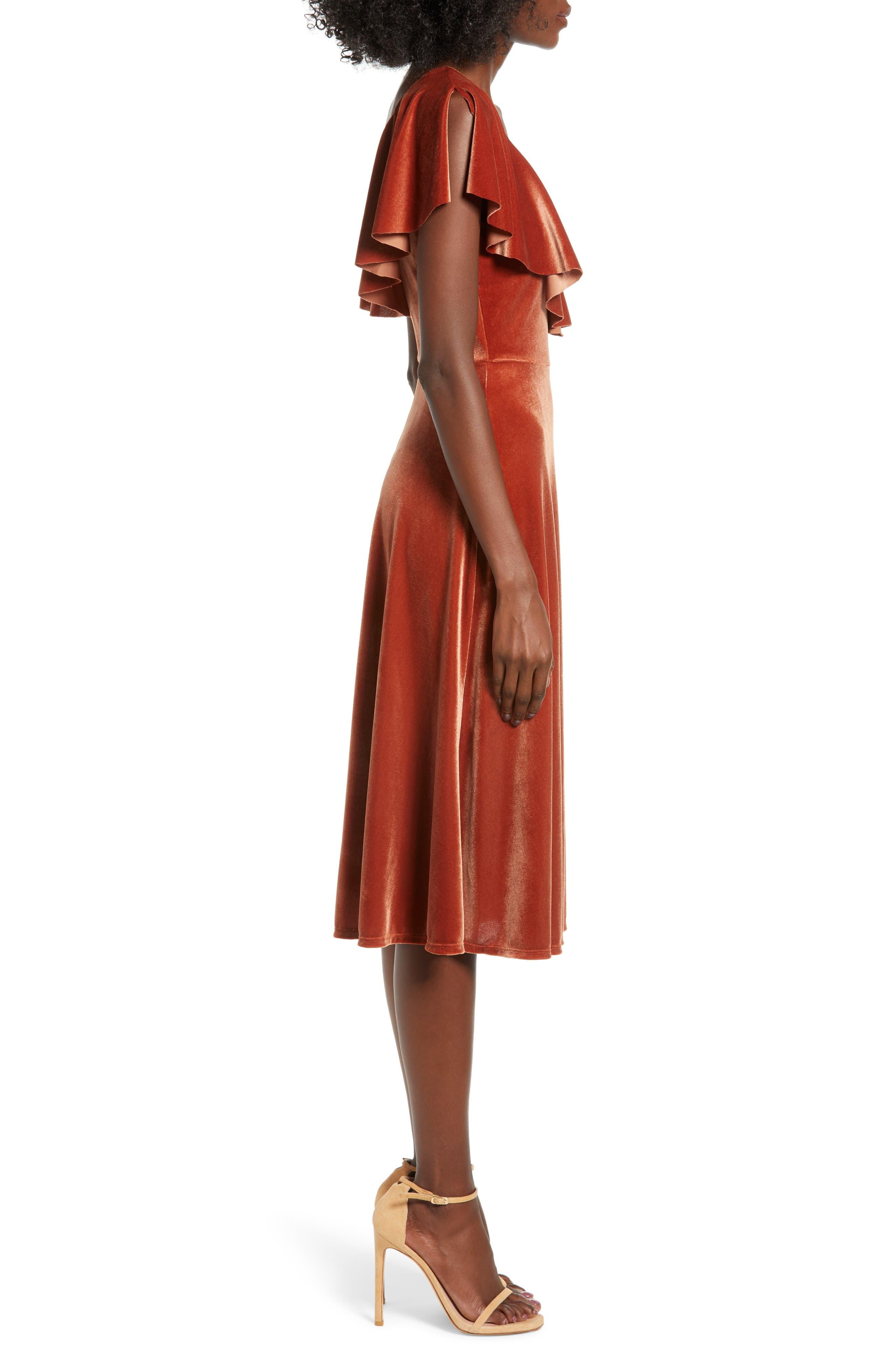 Ruffle Midi Dress,                             Alternate thumbnail 3, color,                             205