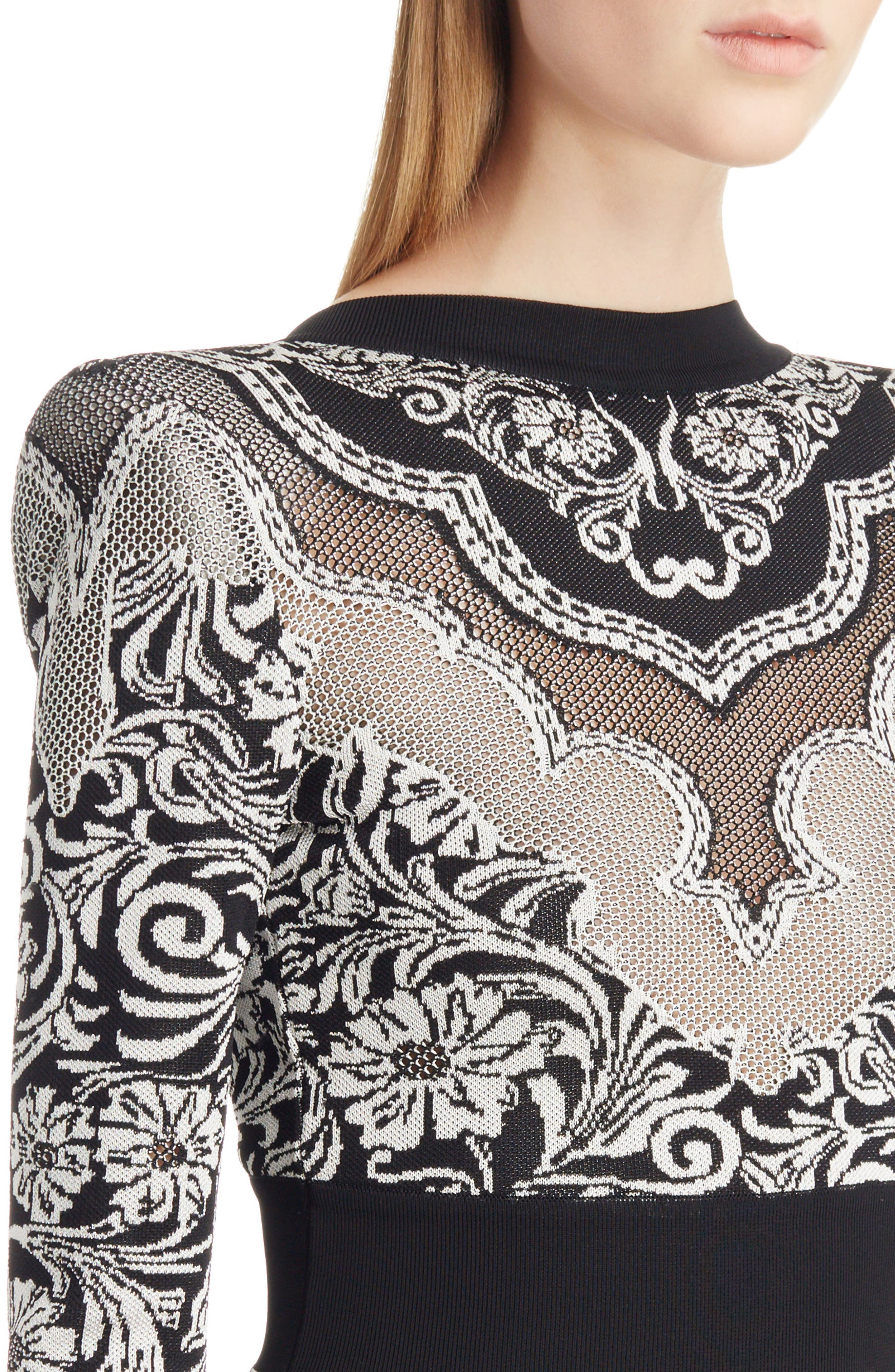 Baroque Knit Minidress,                             Alternate thumbnail 4, color,